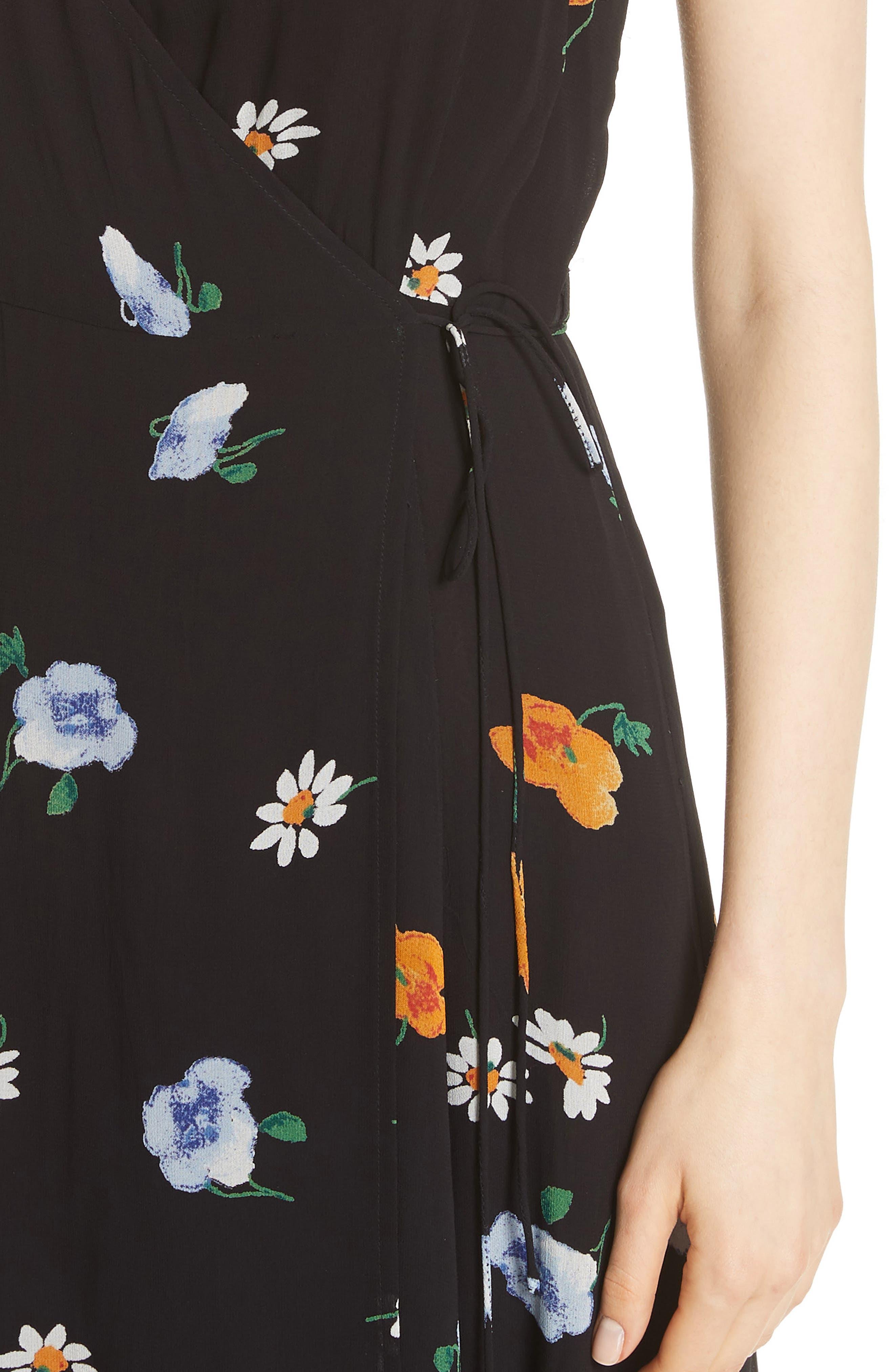 Dainty Georgette Strap Dress,                             Alternate thumbnail 4, color,                             BLACK