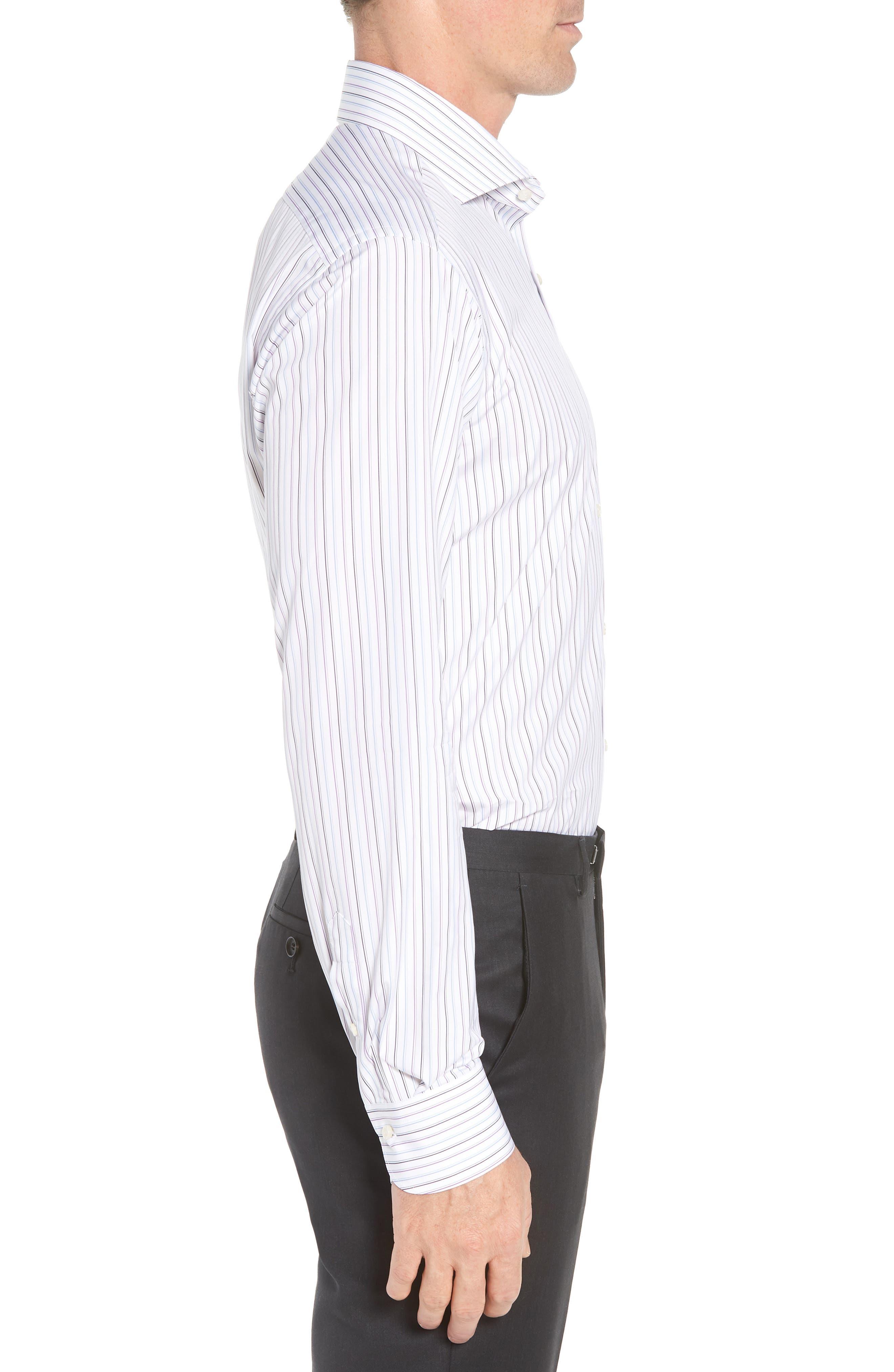 Regular Fit Stripe Dress Shirt,                             Alternate thumbnail 4, color,                             WHITE/ BLUE/ PURPLE