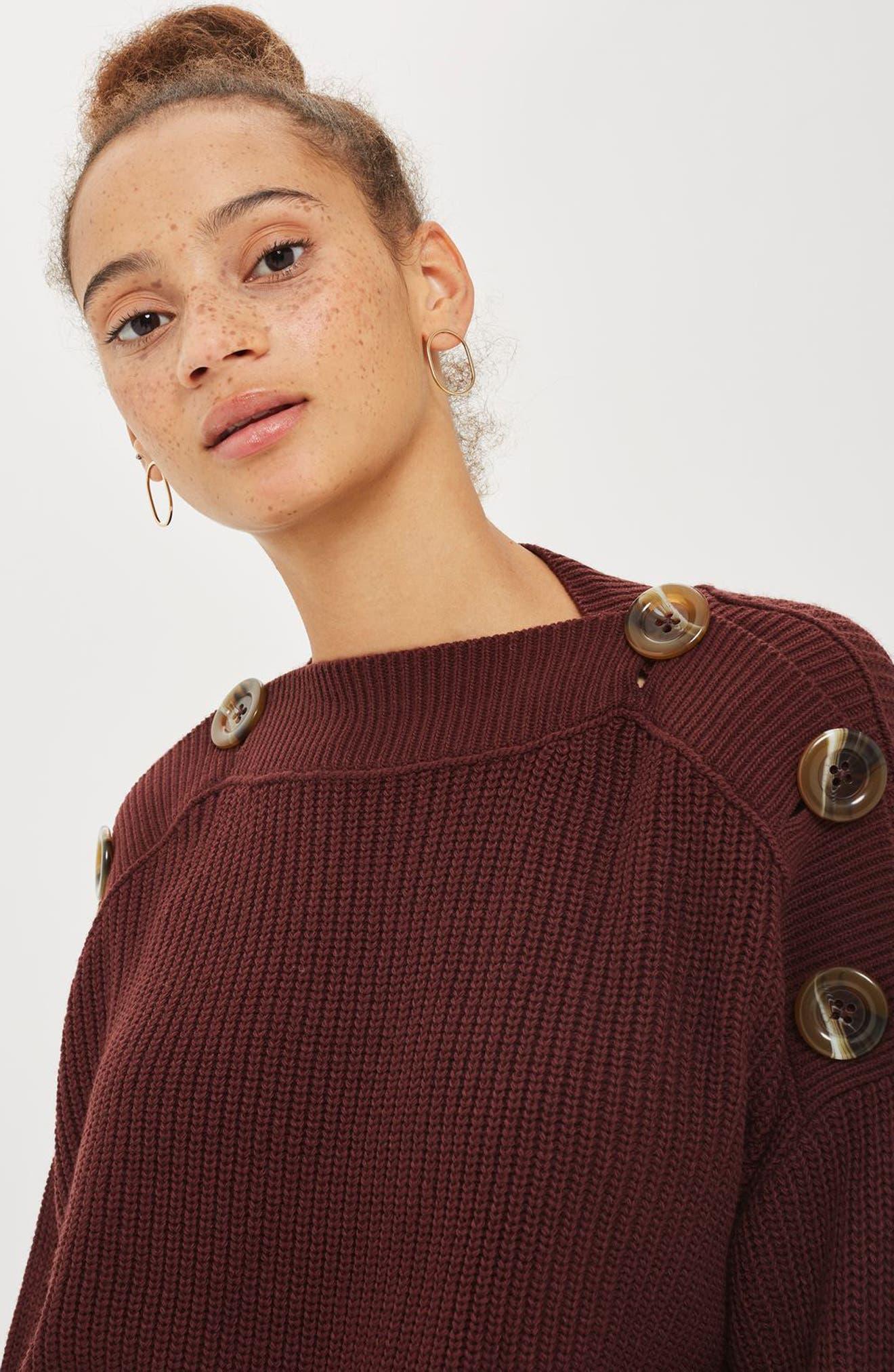 Button Slash Knit Sweater,                             Alternate thumbnail 8, color,