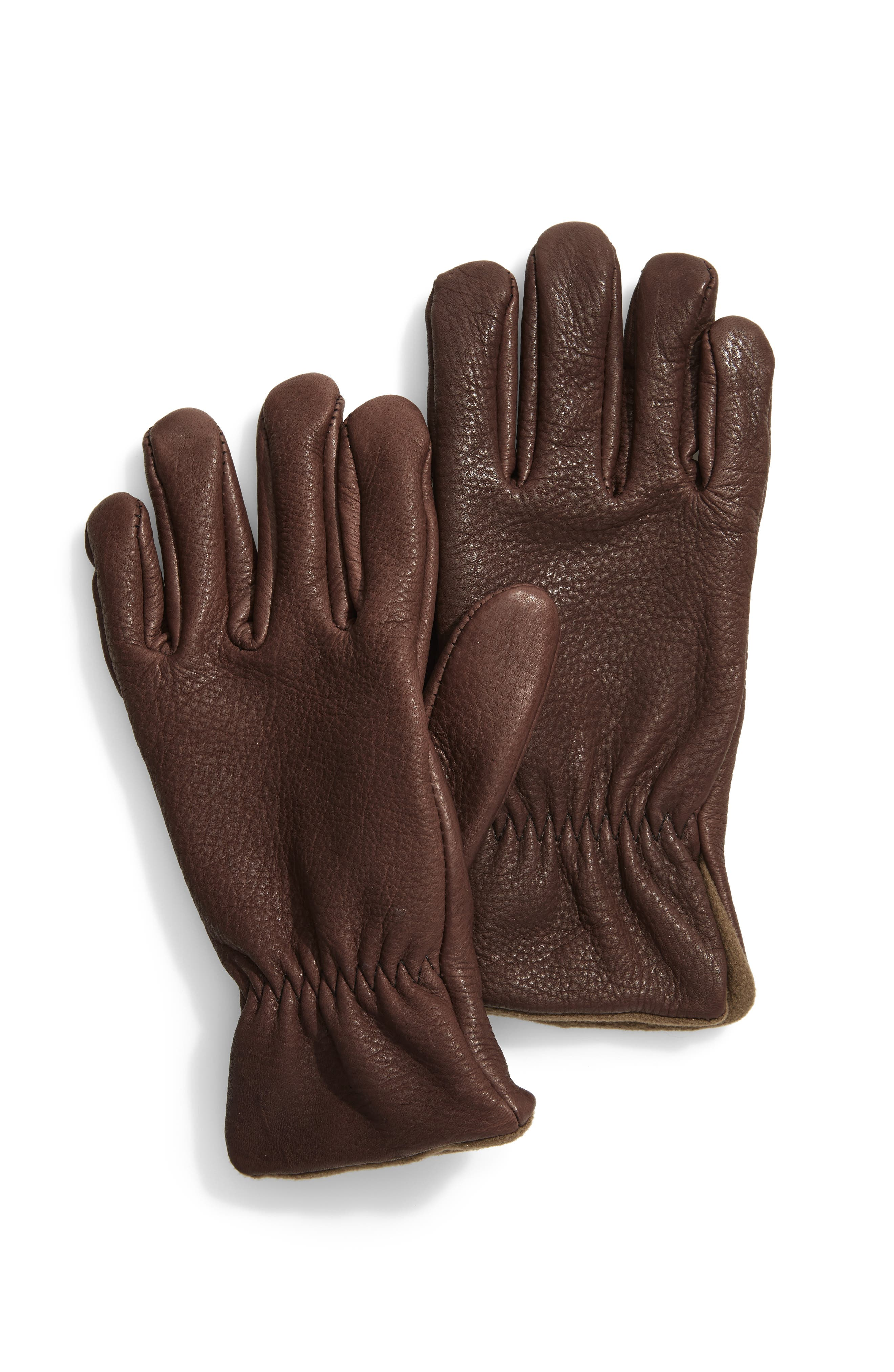 Roper Lined Deerskin Gloves,                             Main thumbnail 1, color,                             CHOCOLATE