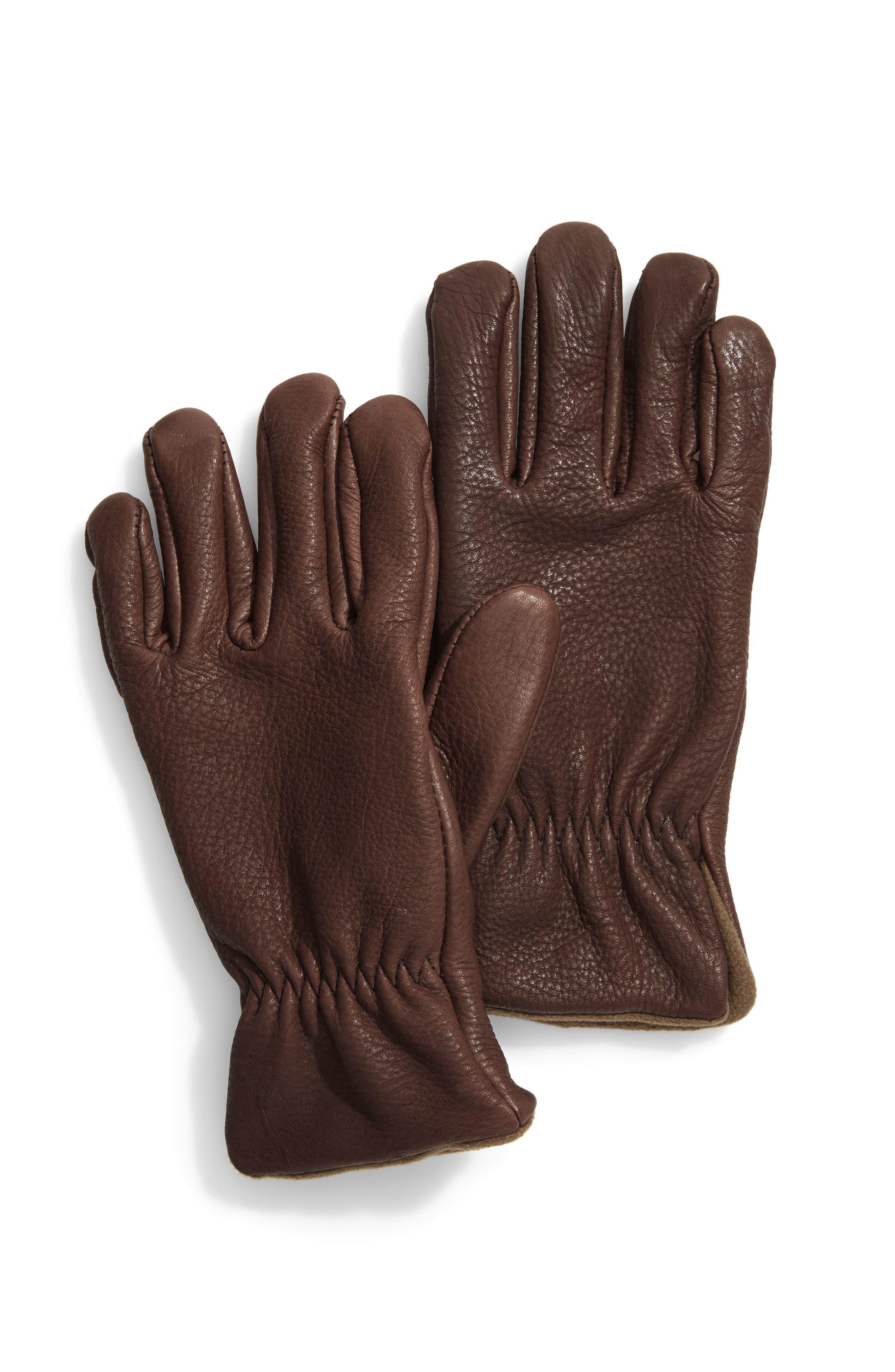 Roper Lined Deerskin Gloves,                         Main,                         color, CHOCOLATE