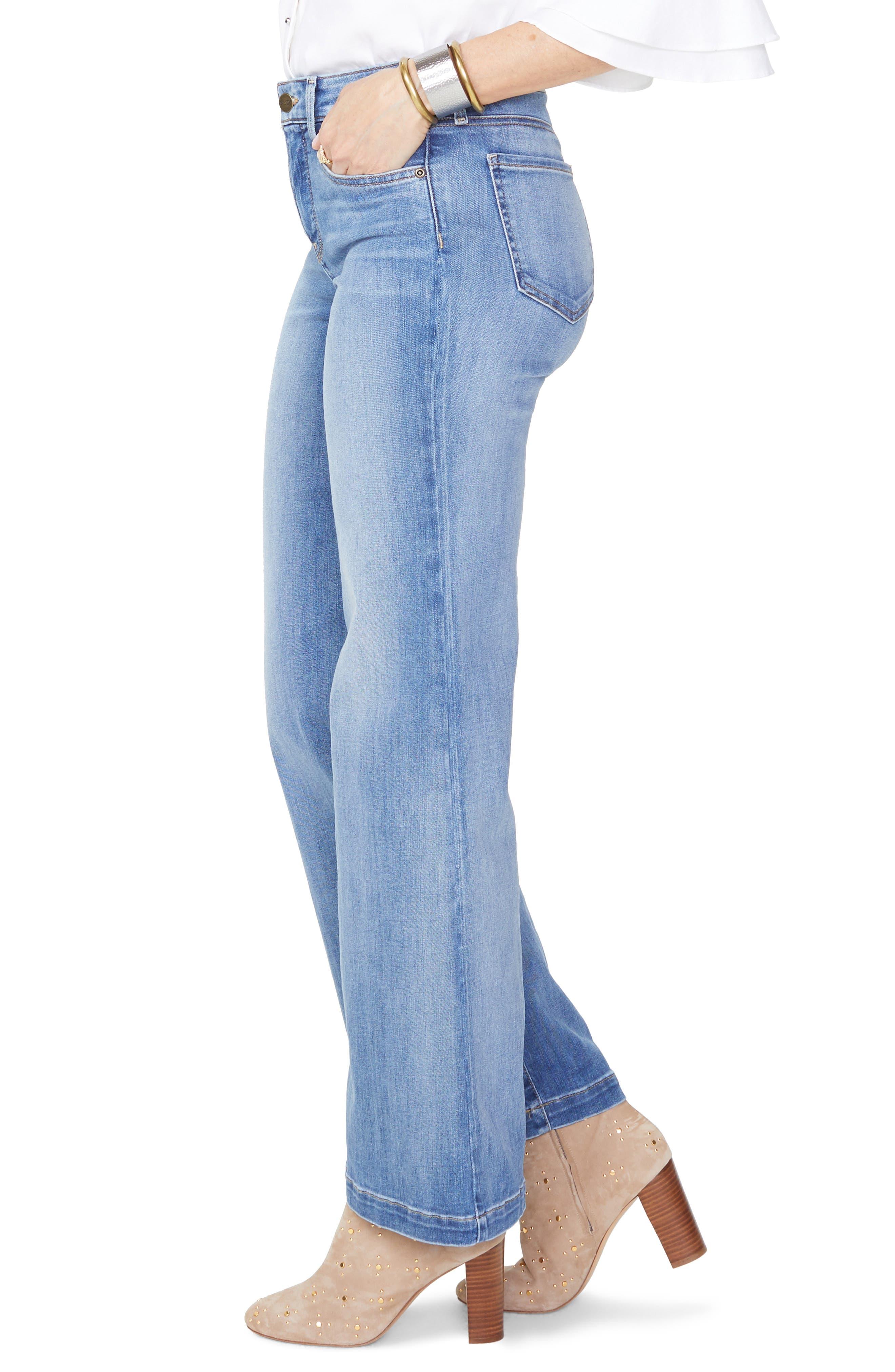 Wide Leg Clean Hem Jeans,                             Alternate thumbnail 3, color,                             CLEAN CABRILLO