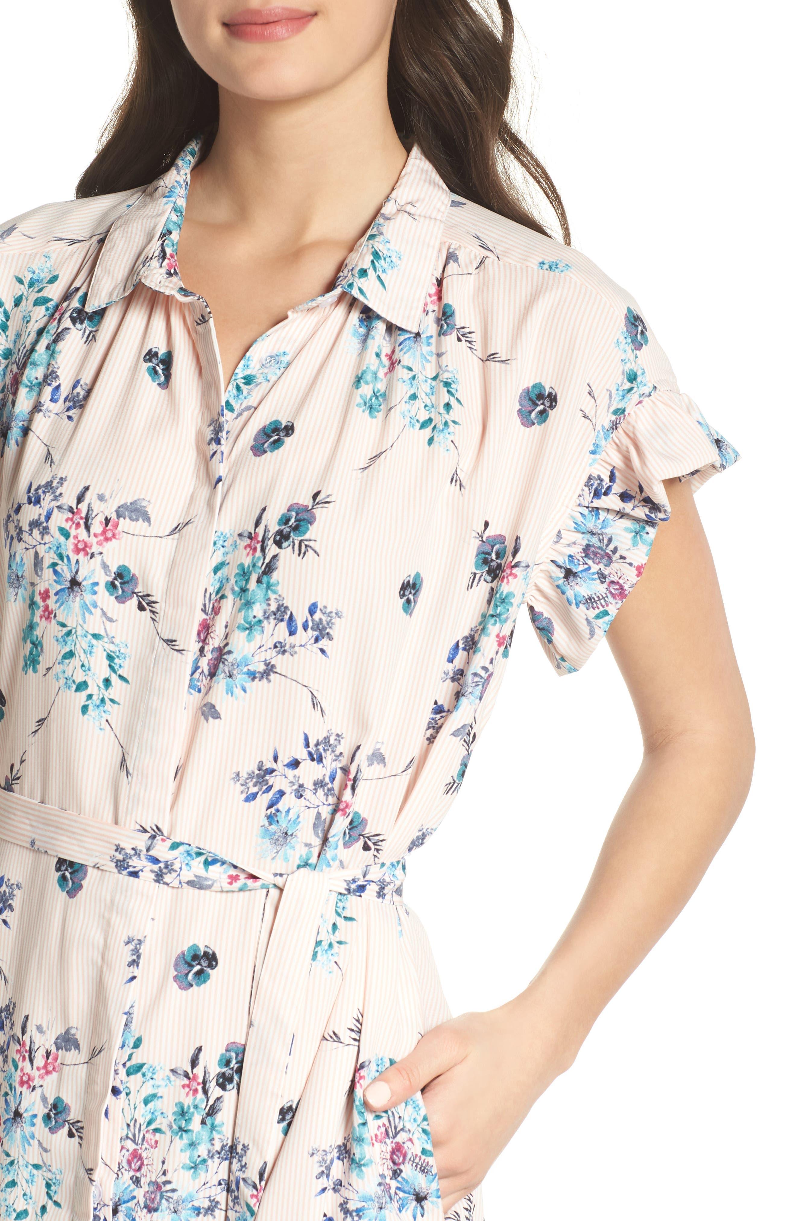 MARY & MABEL,                             Ruffle Sleeve Shirt Dress,                             Alternate thumbnail 4, color,                             652