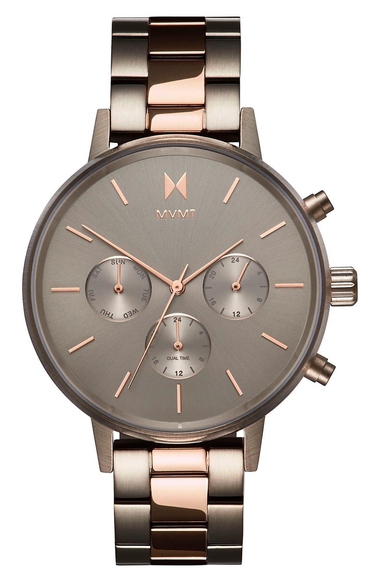 Nova Chronograph Bracelet Watch, 38mm,                             Main thumbnail 1, color,                             SLATE/ ROSE GOLD
