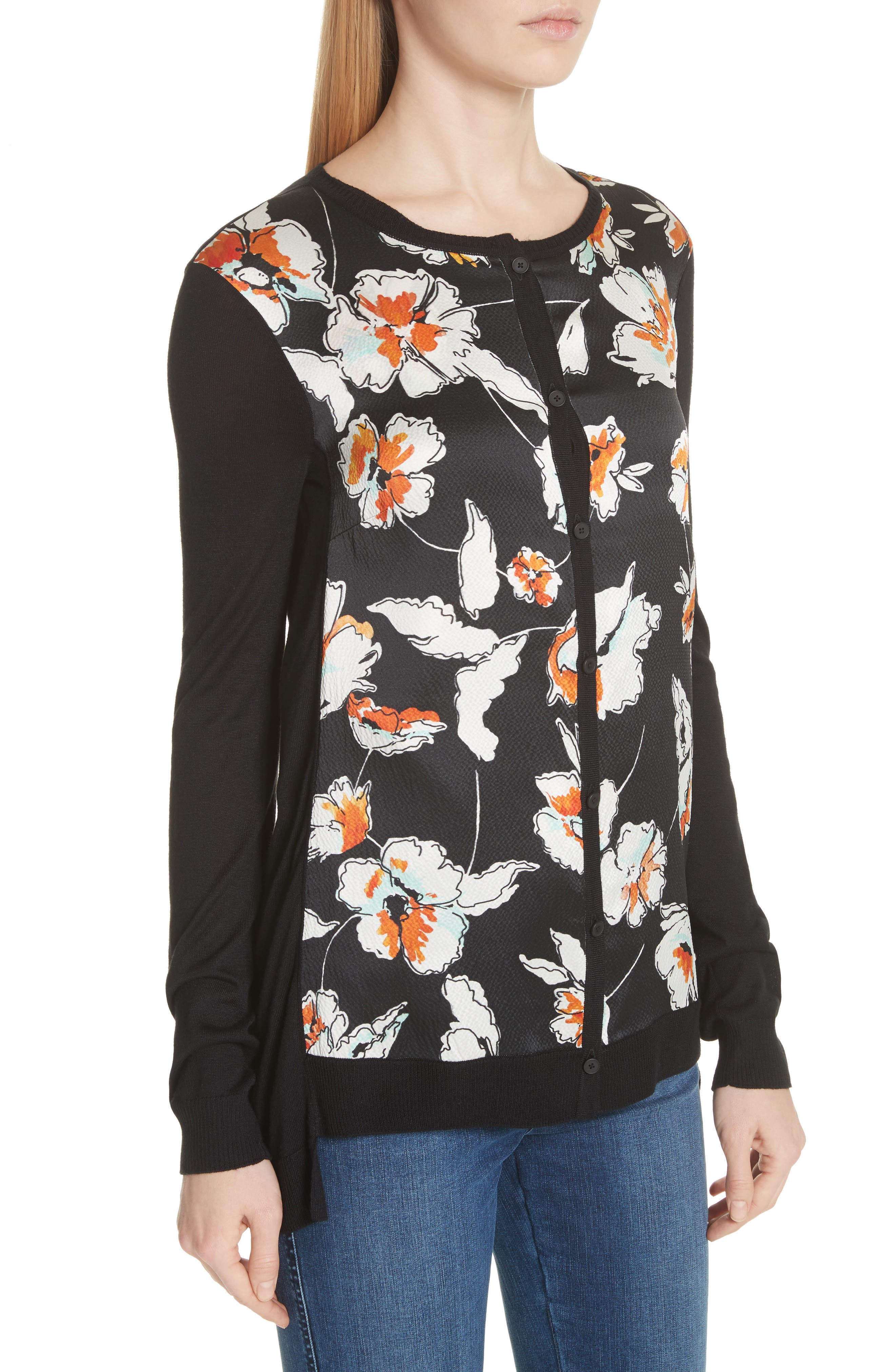 Modern Floral Hammered Satin & Jersey Knit Cardigan,                             Alternate thumbnail 4, color,                             CAVIAR MULTI