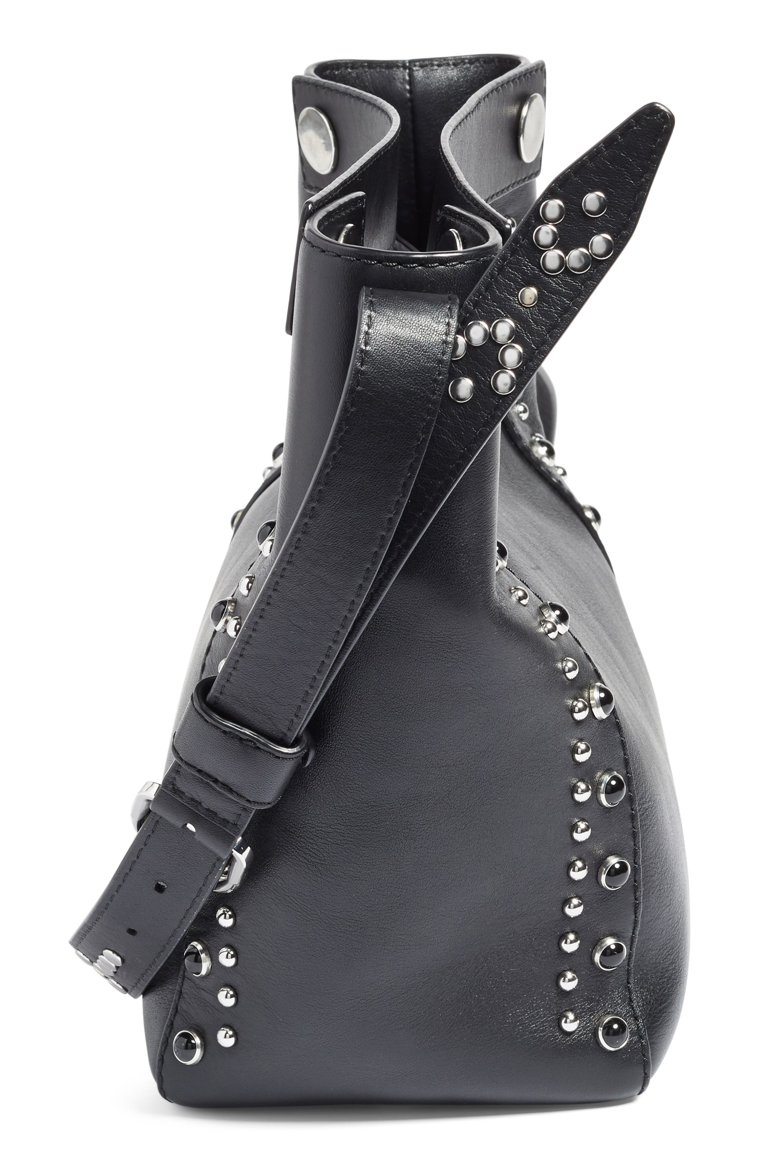 Small Dolly Studded Leather Tote,                             Alternate thumbnail 6, color,                             001