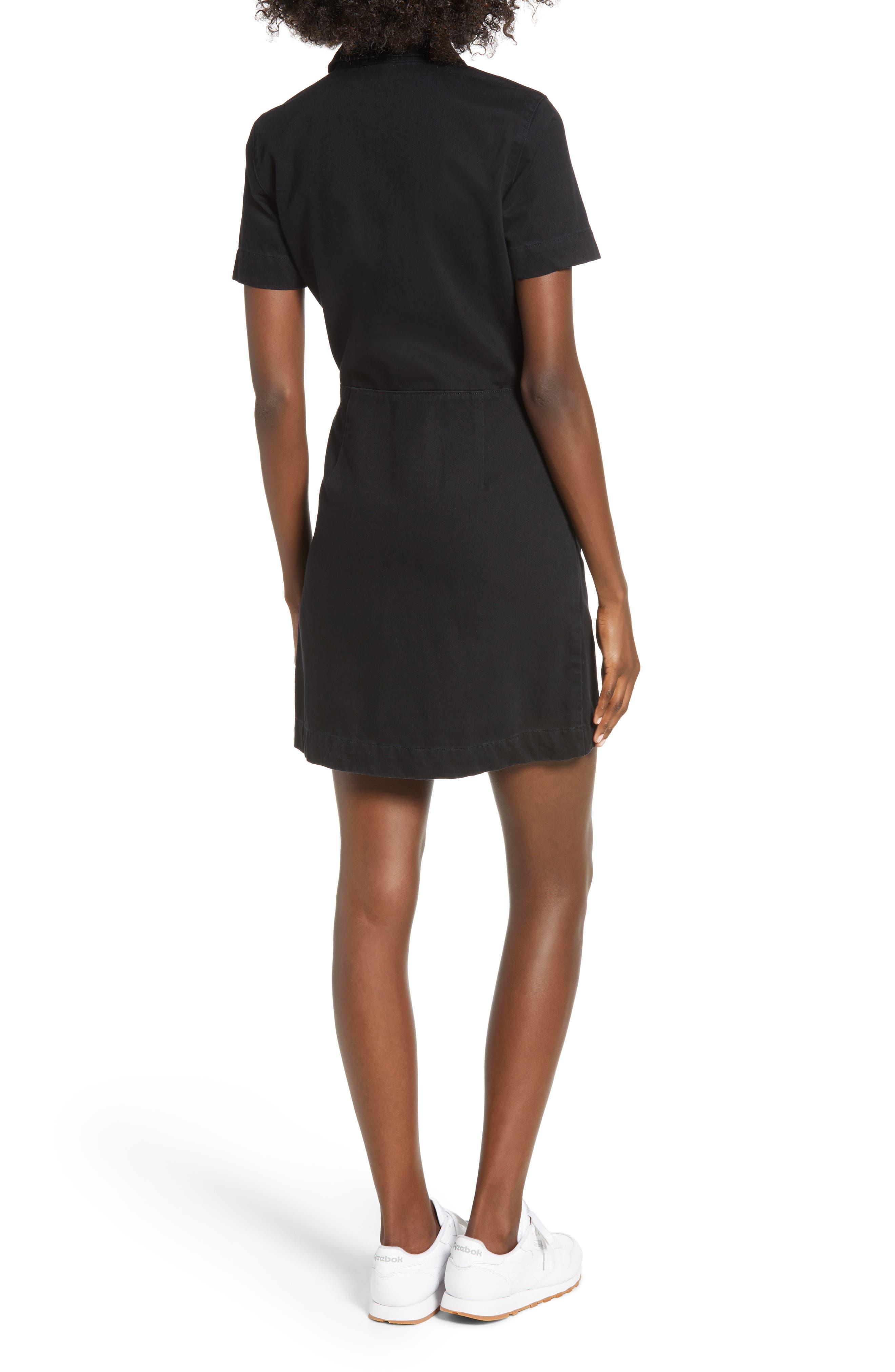 Zip Front Dress,                             Alternate thumbnail 2, color,                             BLACK STONE