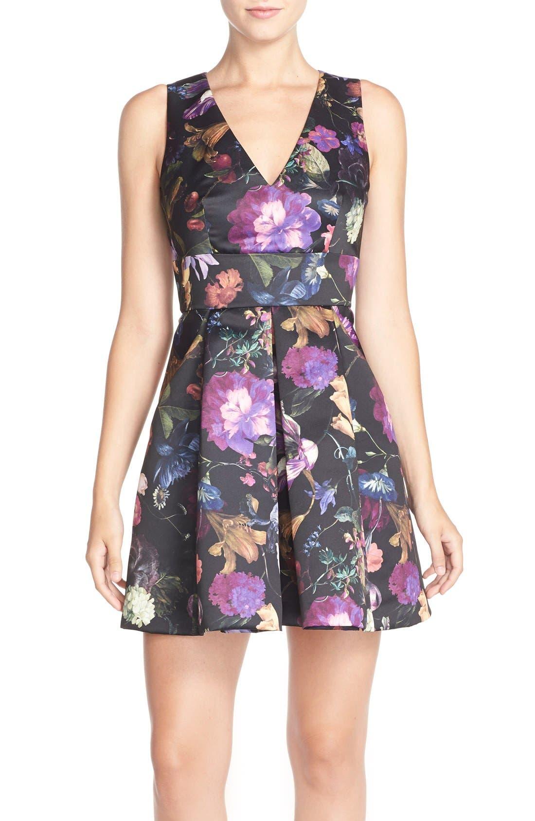 Cythia Rowley 'Winter' Floral Print Woven Fit & Flare Dress,                             Main thumbnail 1, color,                             009