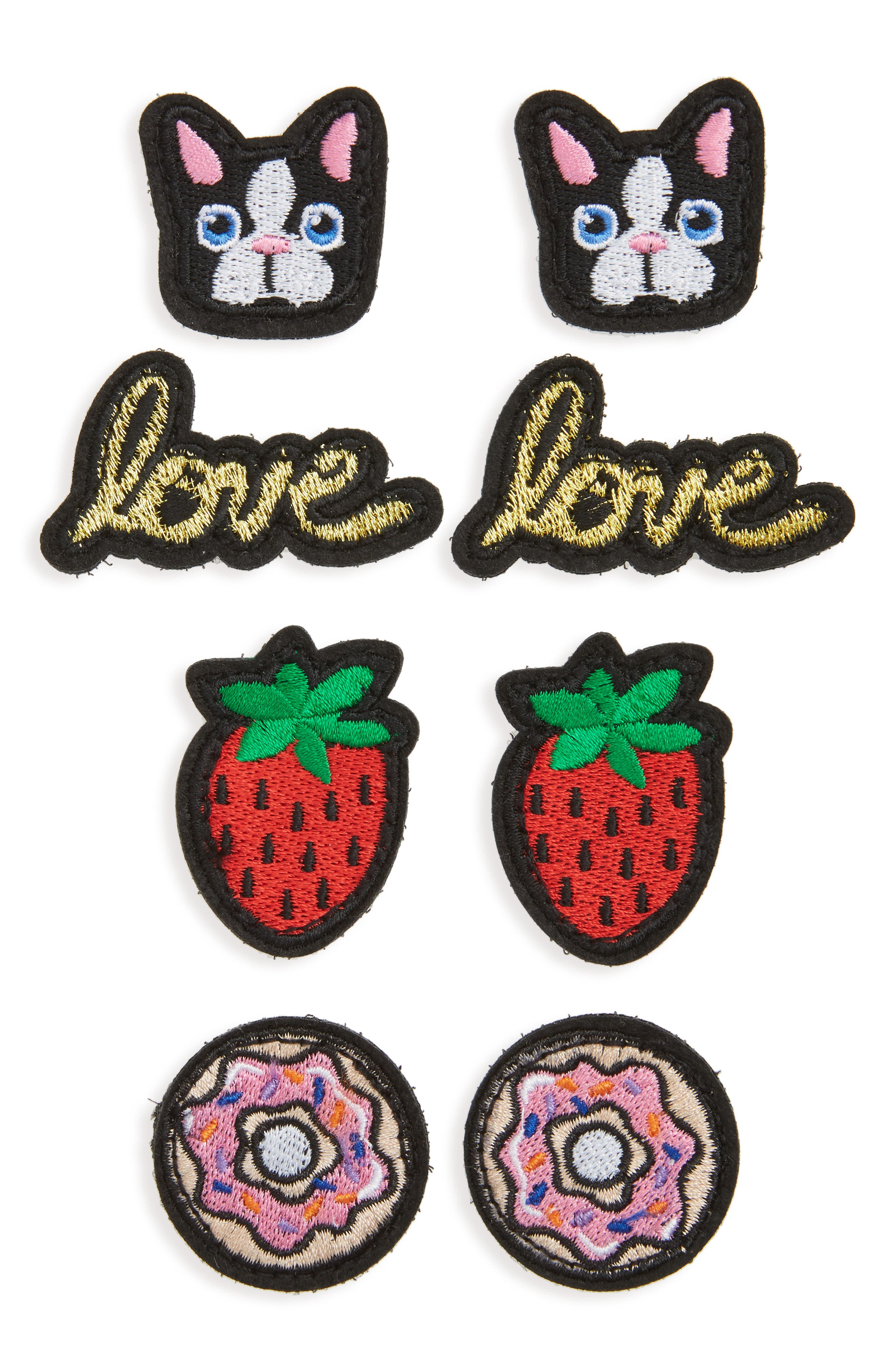 Set of 8 Embroidered Patches,                             Main thumbnail 1, color,                             001