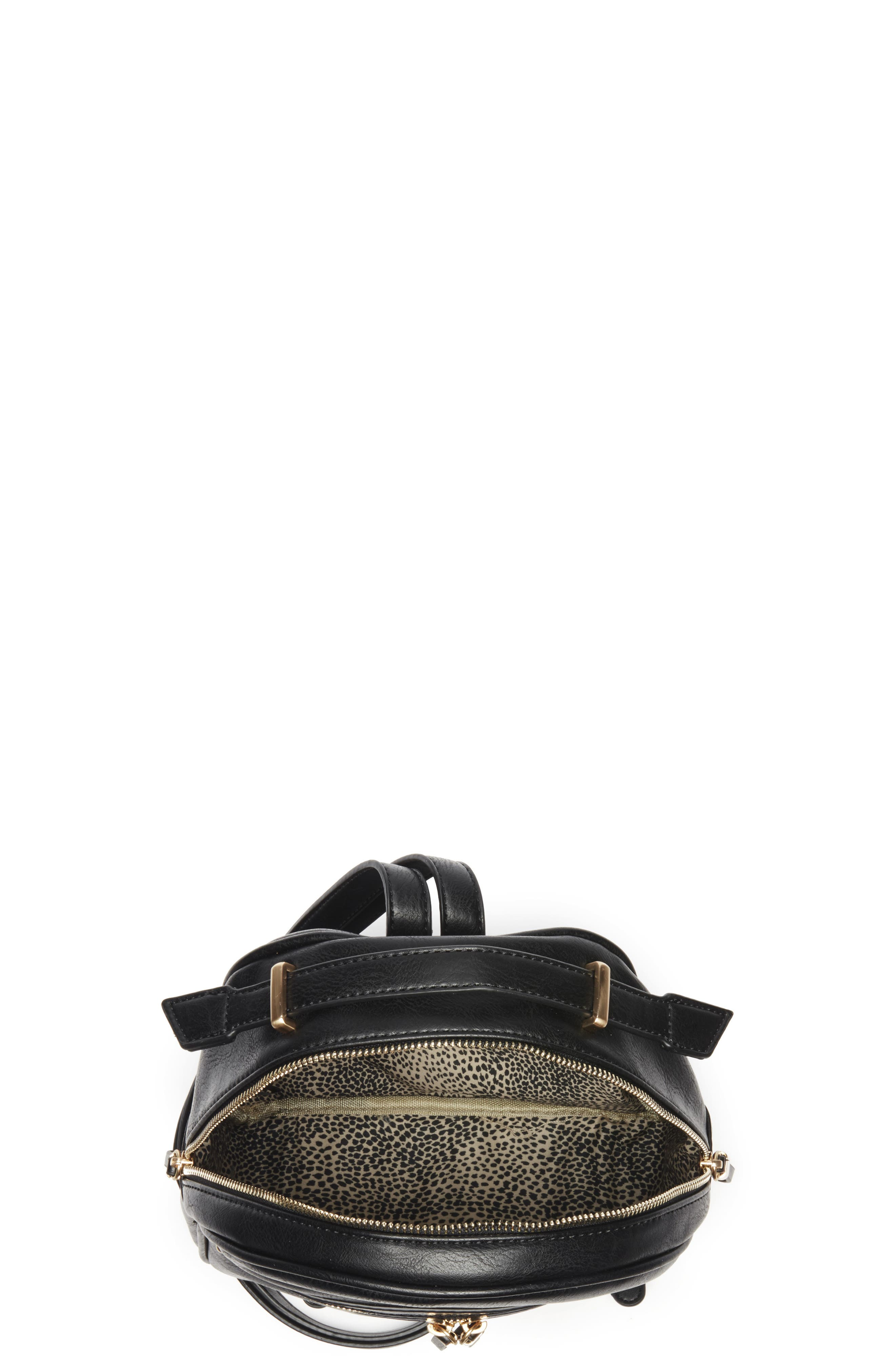 Zypa Faux Leather Backpack,                             Alternate thumbnail 4, color,                             BLACK