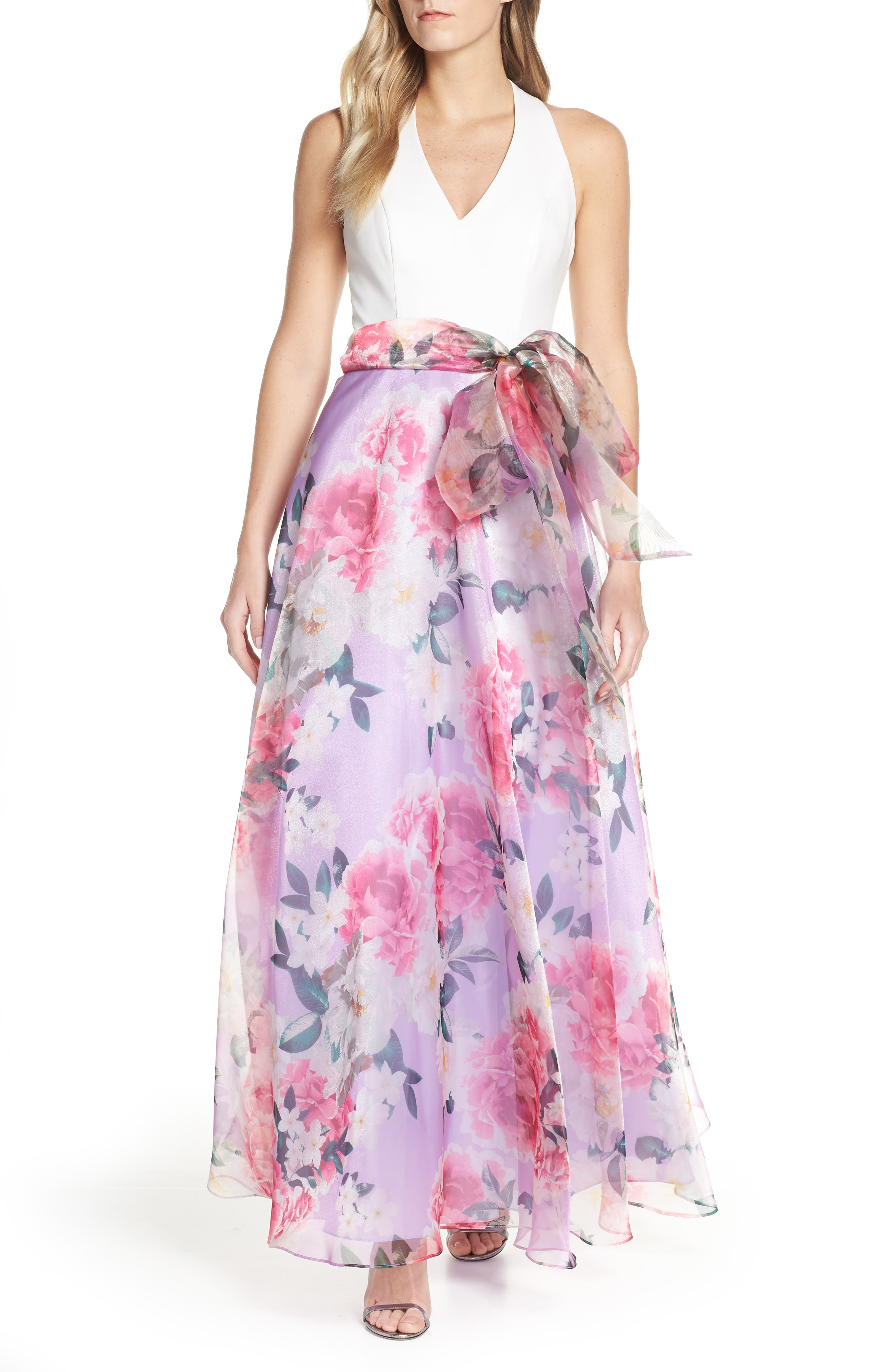 Eliza J Floral Chiffon Skirt Ballgown, Purple