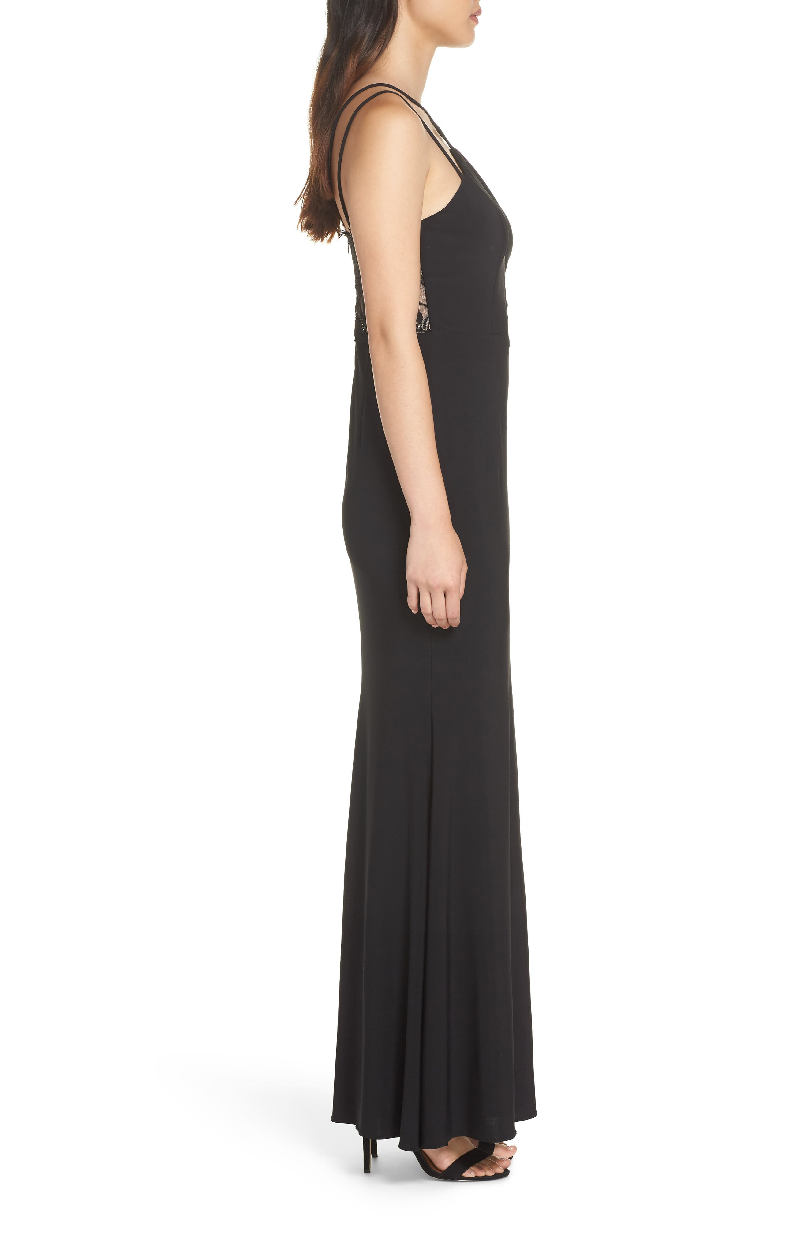 Strappy Lace Inset Trumpet Gown,                             Alternate thumbnail 3, color,                             BLACK