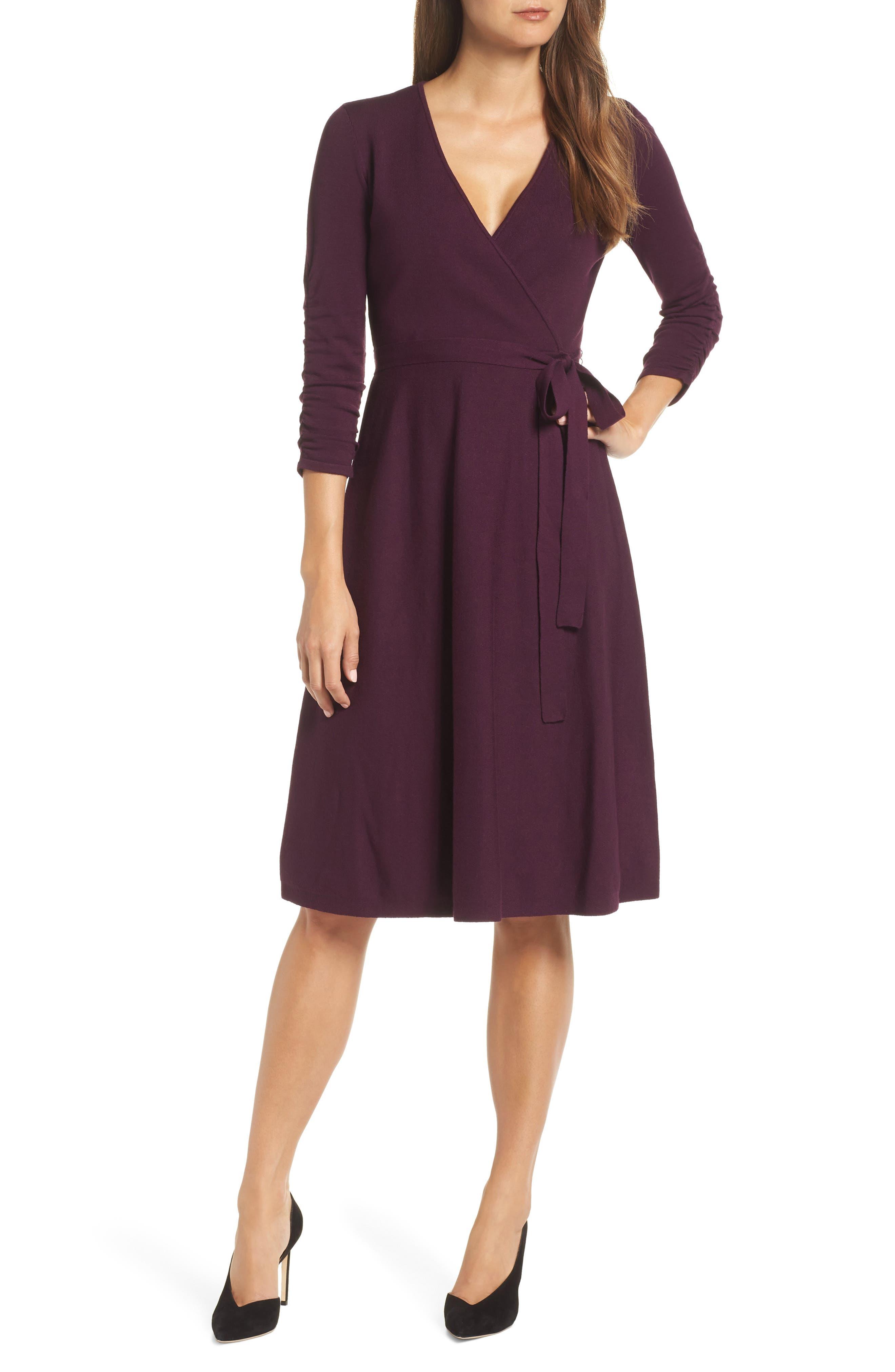 Eliza J Faux Wrap Sweater Dress, Burgundy