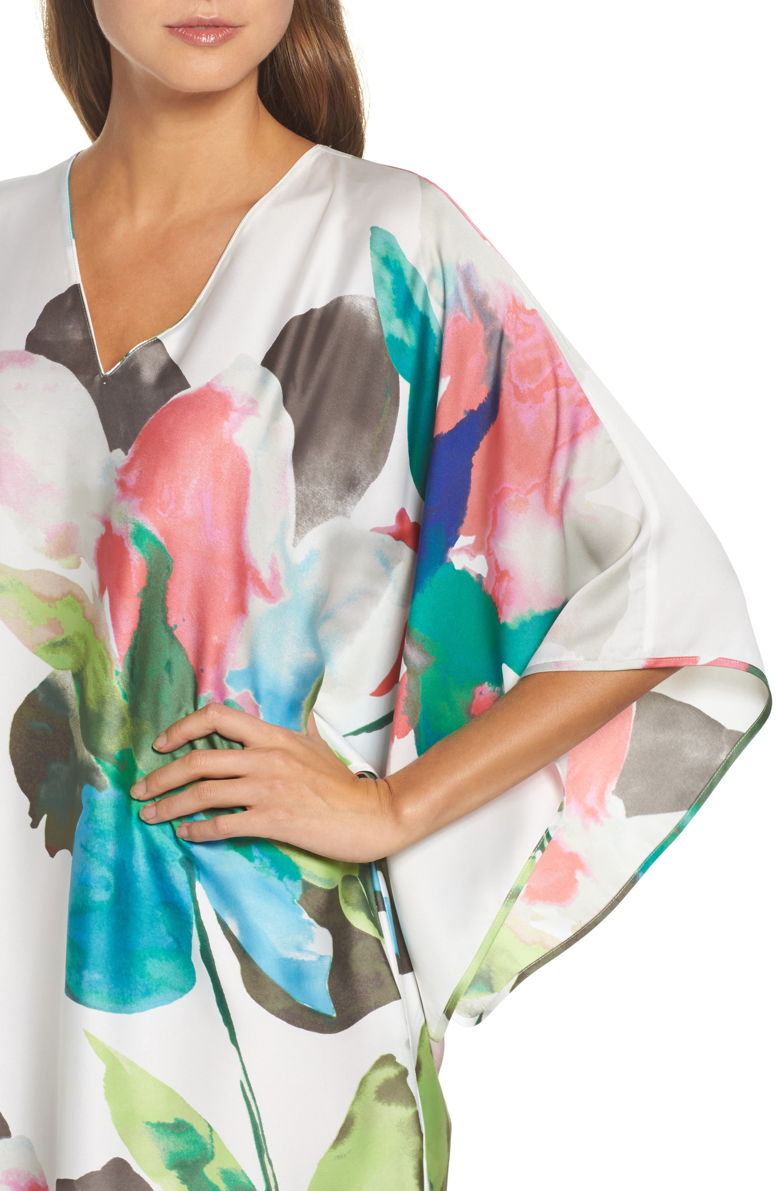 Water Lily Print Satin Caftan,                             Alternate thumbnail 4, color,                             100