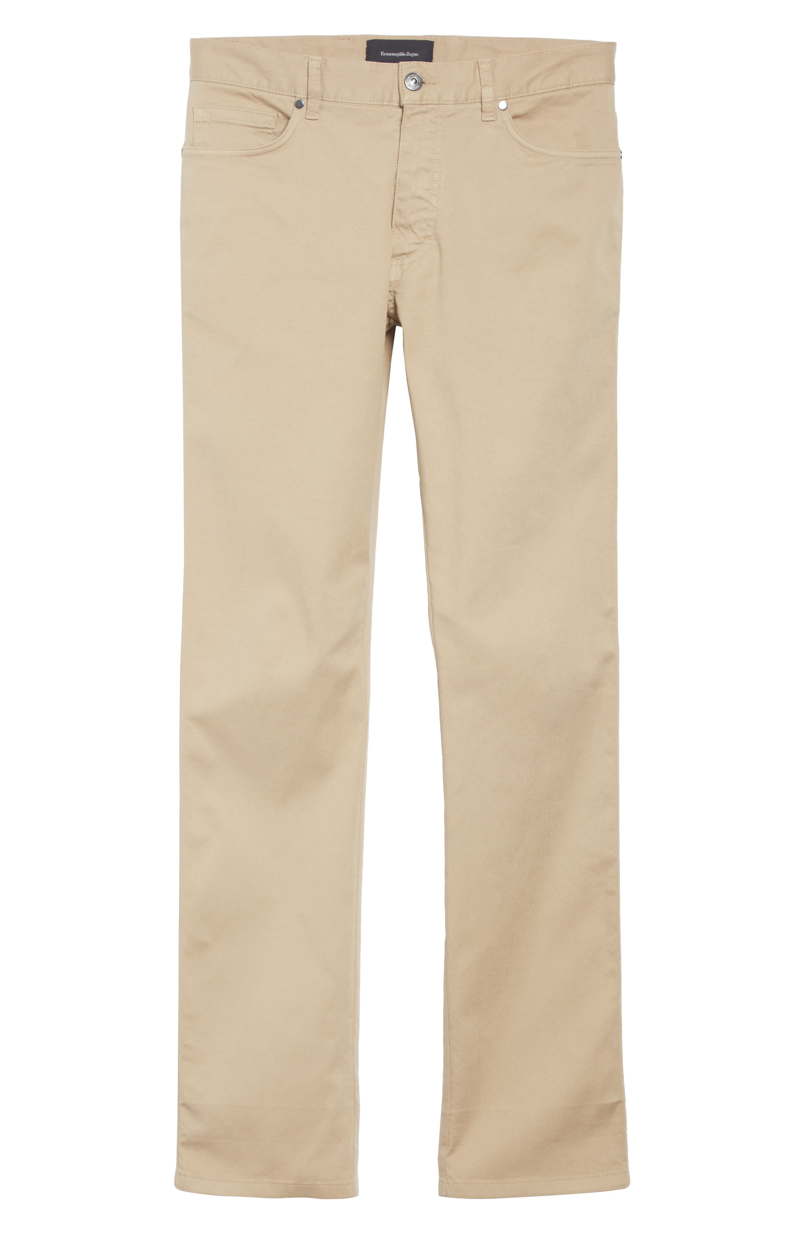 Stretch Cotton Five Pocket Pants,                             Alternate thumbnail 6, color,                             LIGHT BEIGE