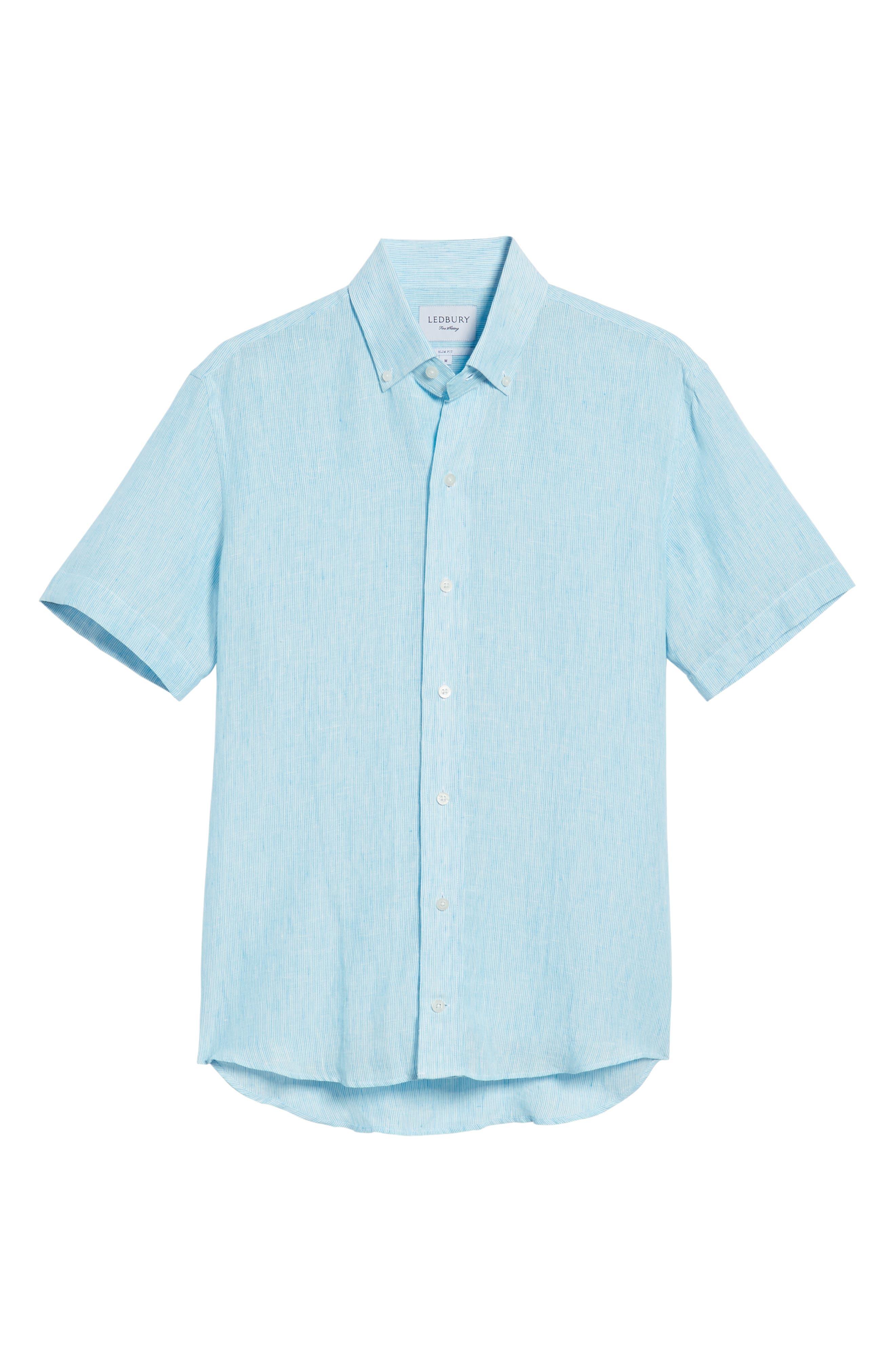 Willington Stripe Slim Fit Linen Sport Shirt,                             Alternate thumbnail 6, color,                             400
