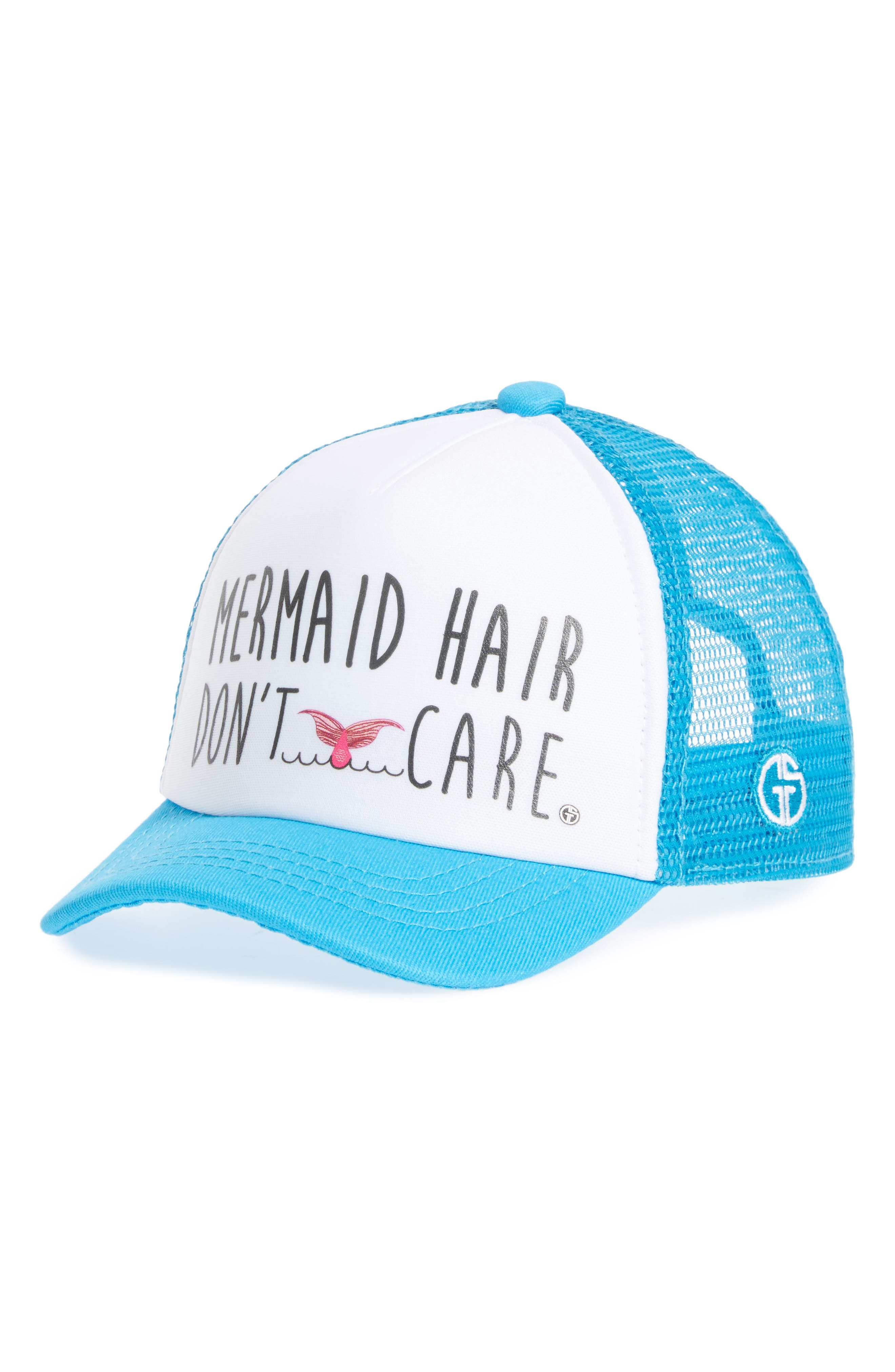 Trucker Hat,                         Main,                         color, AQUA/ WHITE MERMAID HAIR