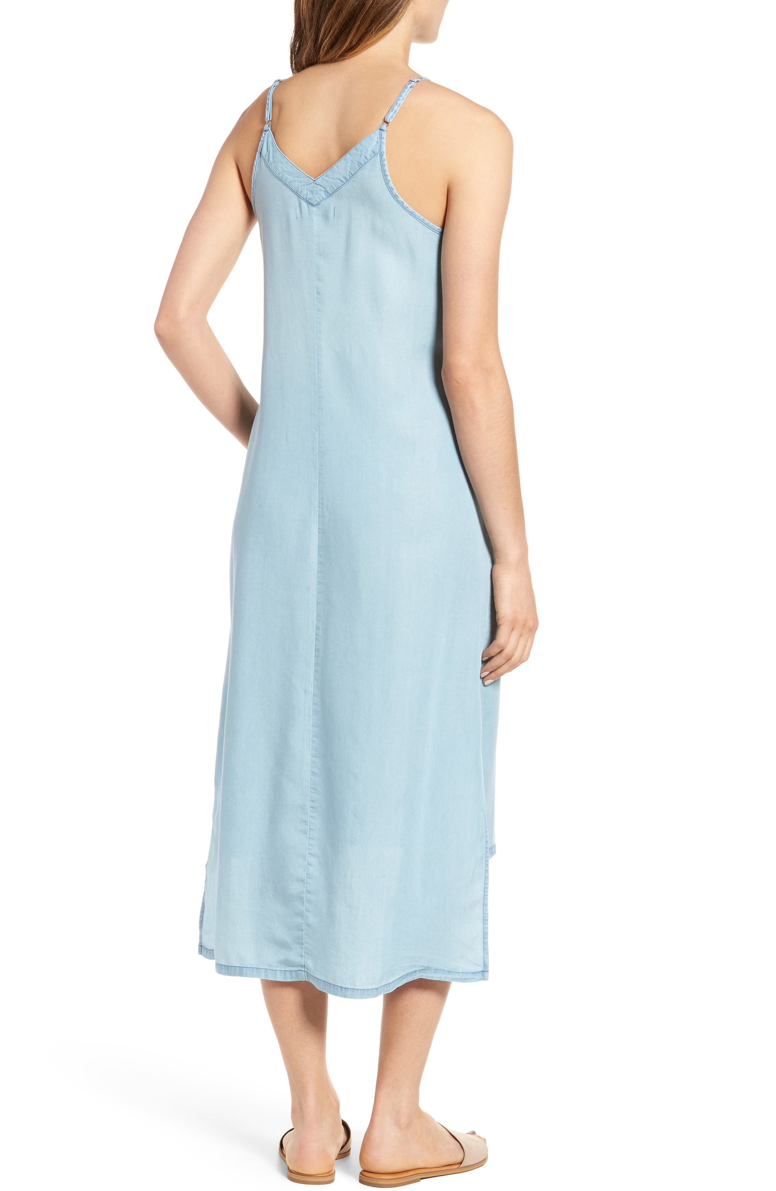 Embellished High/Low Chambray Slipdress,                             Alternate thumbnail 2, color,                             400