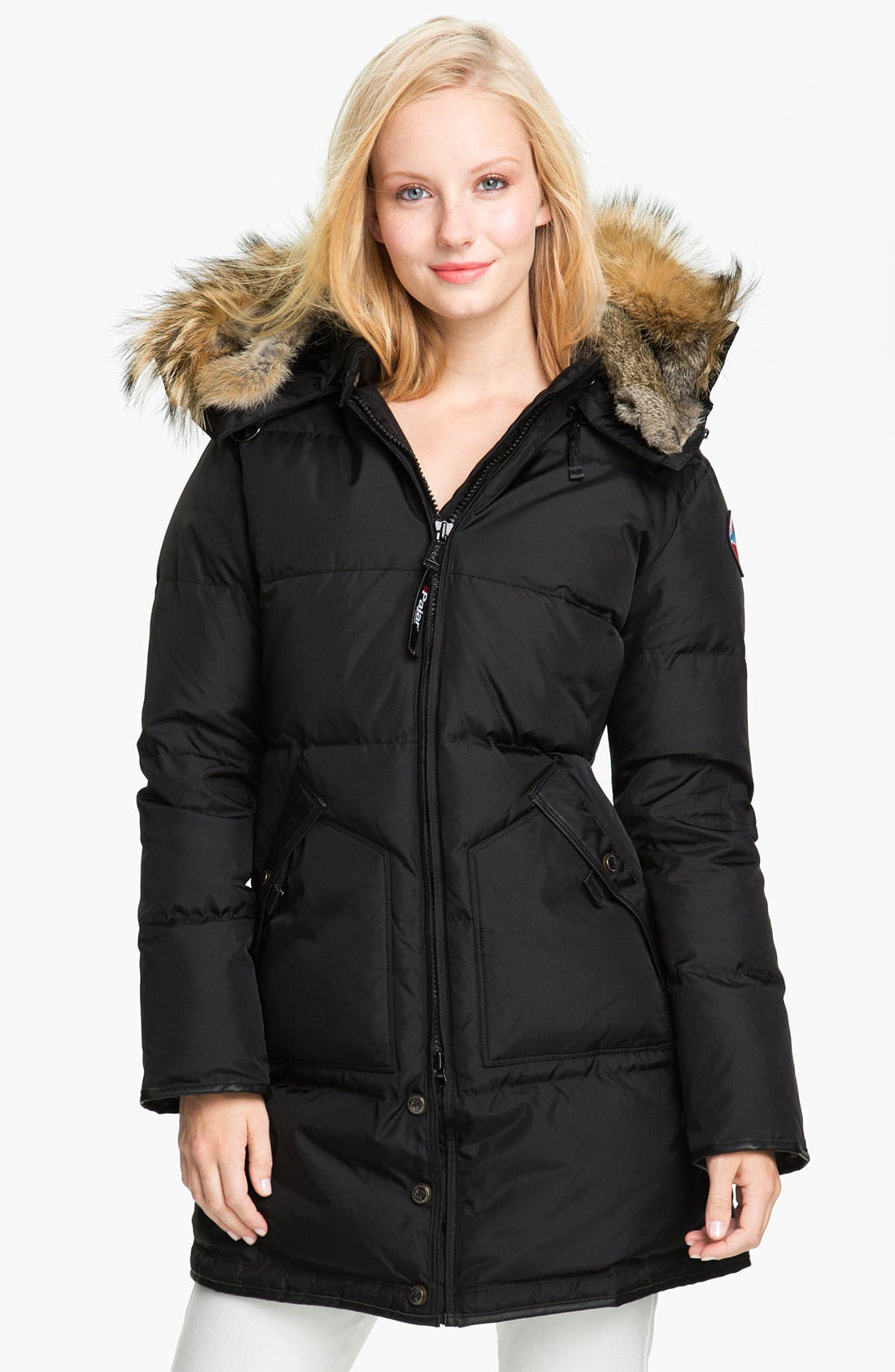 'Cougar' Down Parka with Genuine Coyote & Rabbit Fur,                             Main thumbnail 1, color,                             001