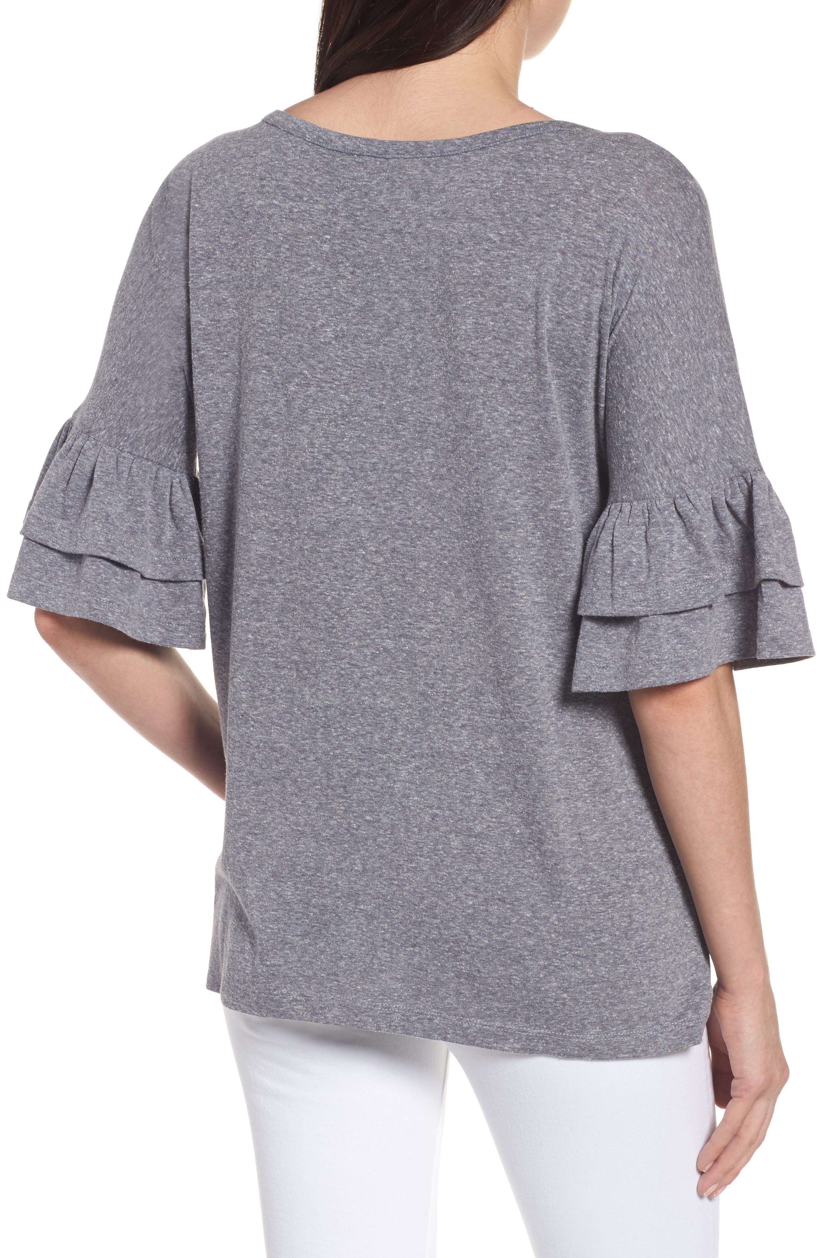 Tiered Bell Sleeve Tee,                             Alternate thumbnail 11, color,