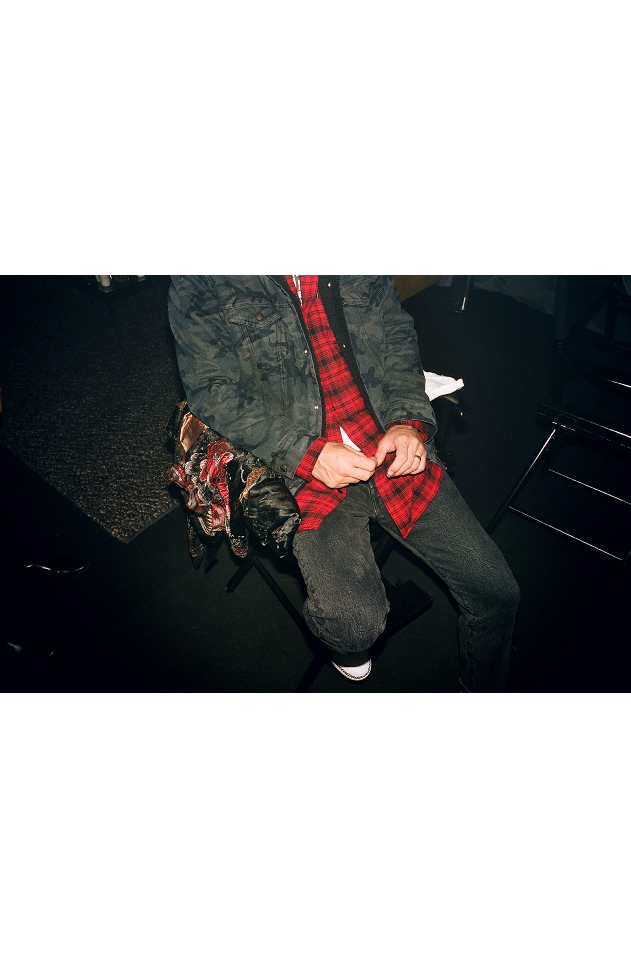 x Justin Timberlake Hooded Flannel Worker Shirt,                             Alternate thumbnail 9, color,                             SERVAL CRIMSON
