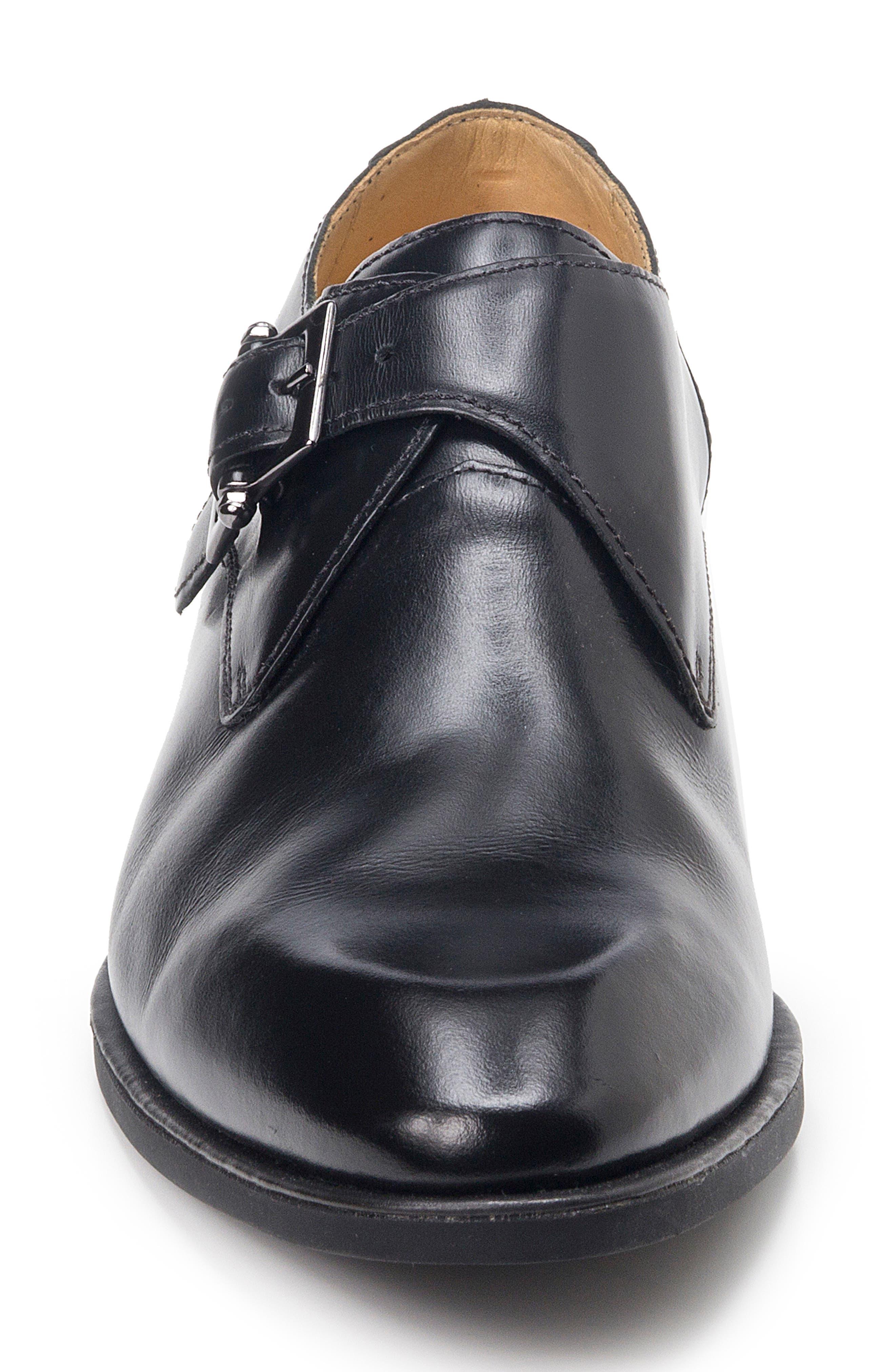 Wendell Single Buckle Monk Shoe,                             Alternate thumbnail 4, color,                             BLACK LEATHER