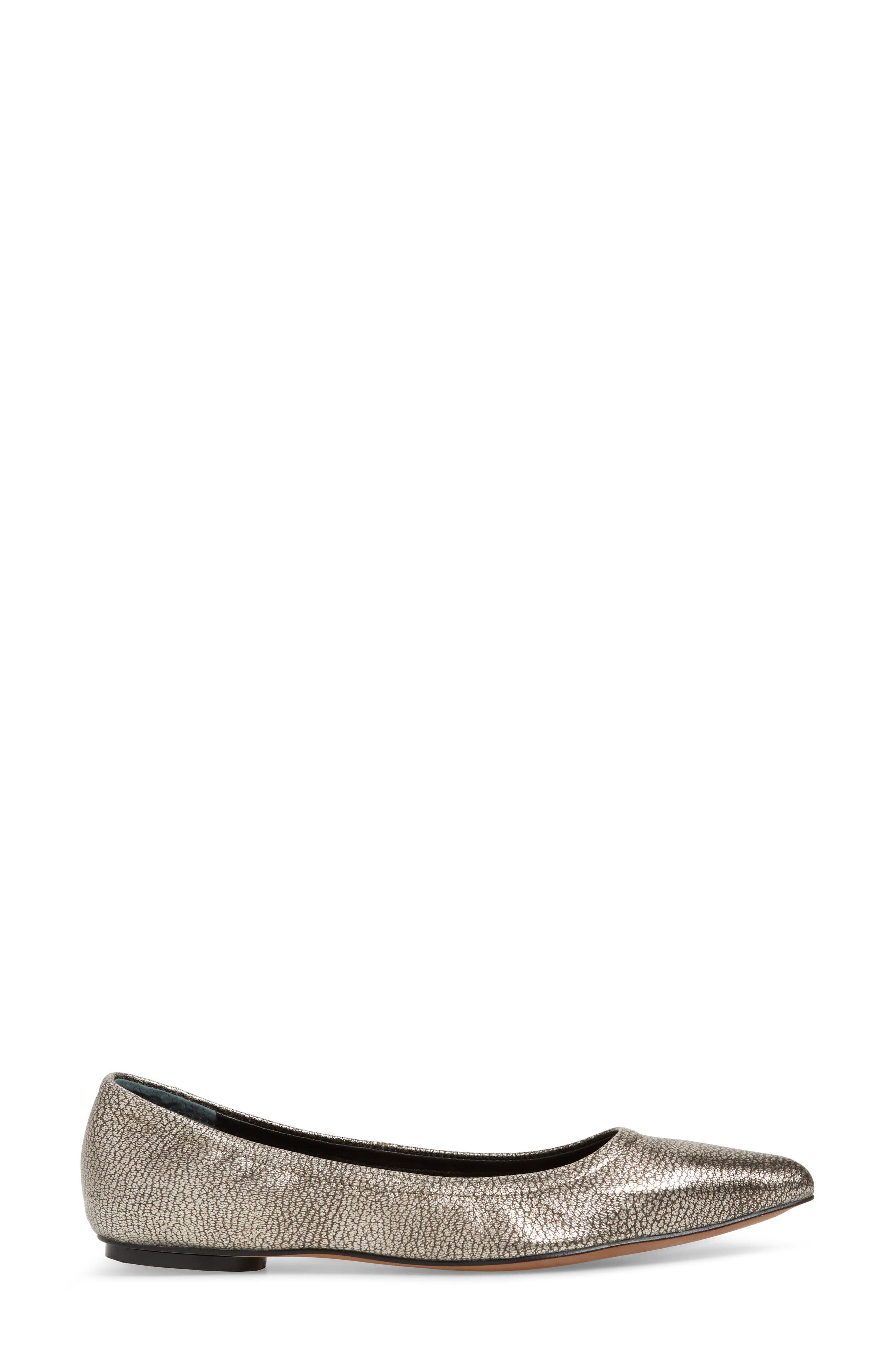 Nico Pointy Toe Flat,                             Alternate thumbnail 3, color,                             ANTHRACITE LEATHER