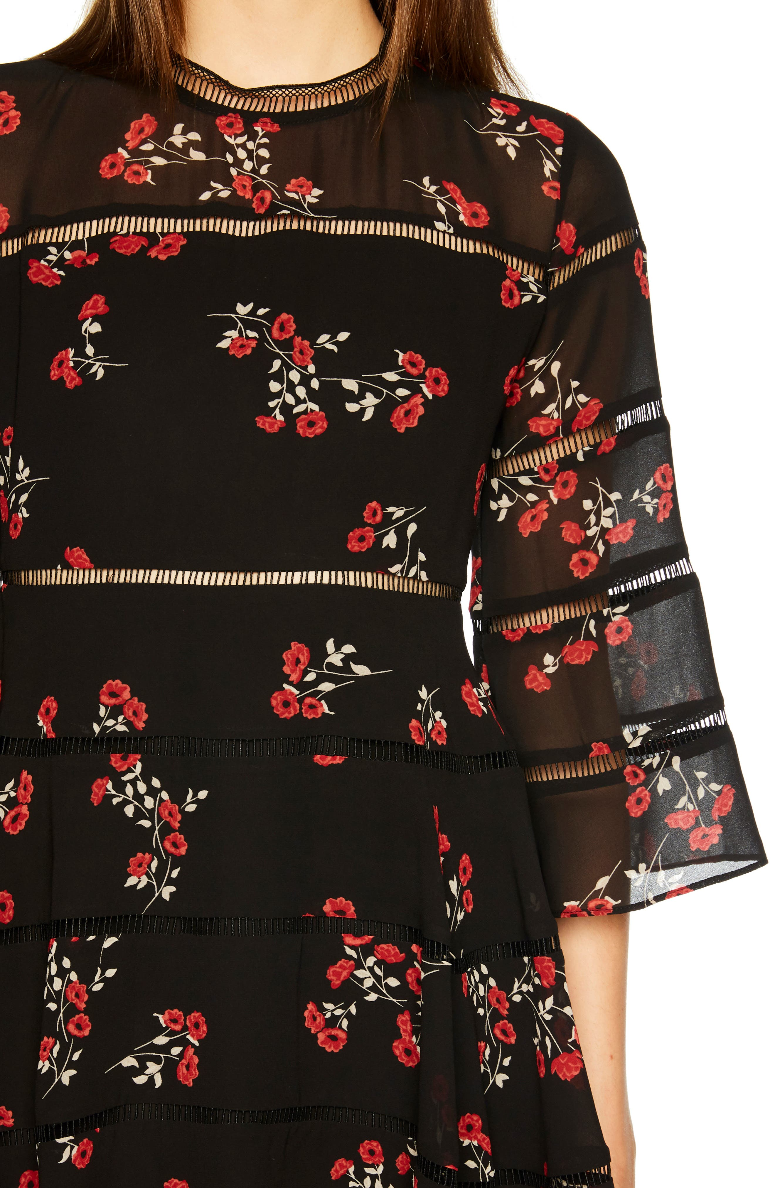 Poppy Print Dress,                             Alternate thumbnail 4, color,                             DITSY FLORAL