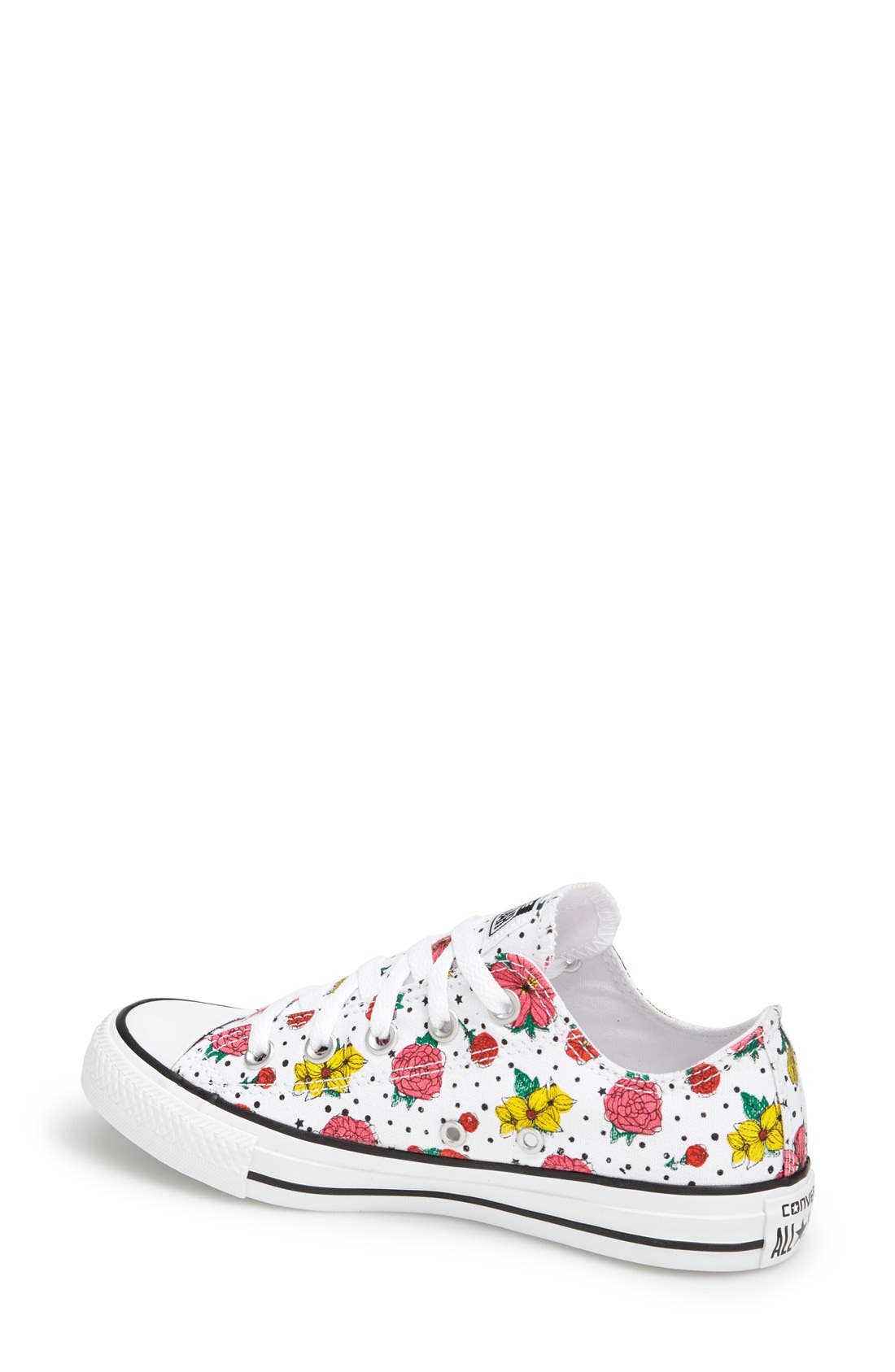 CONVERSE,                             Chuck Taylor<sup>®</sup> All Star<sup>®</sup> Floral Polka Dot Low Top Sneaker,                             Alternate thumbnail 4, color,                             007