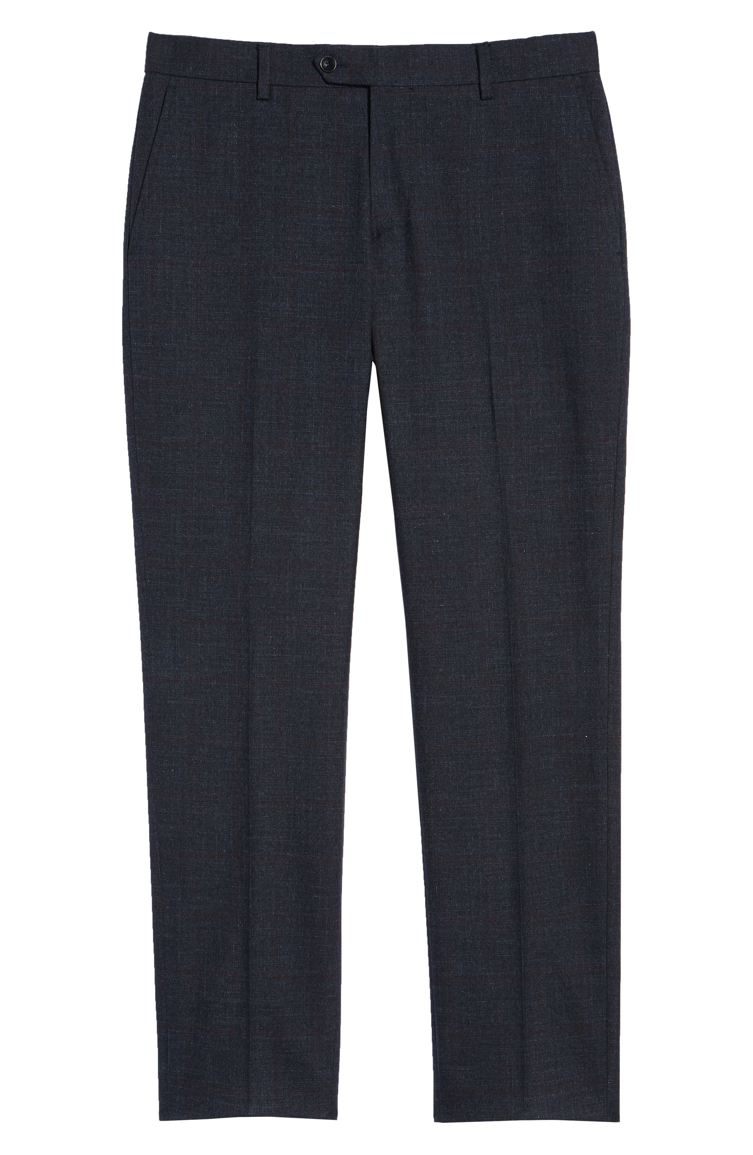 Flat Front Windowpane Stretch Cotton Trousers,                             Alternate thumbnail 6, color,                             NAVY