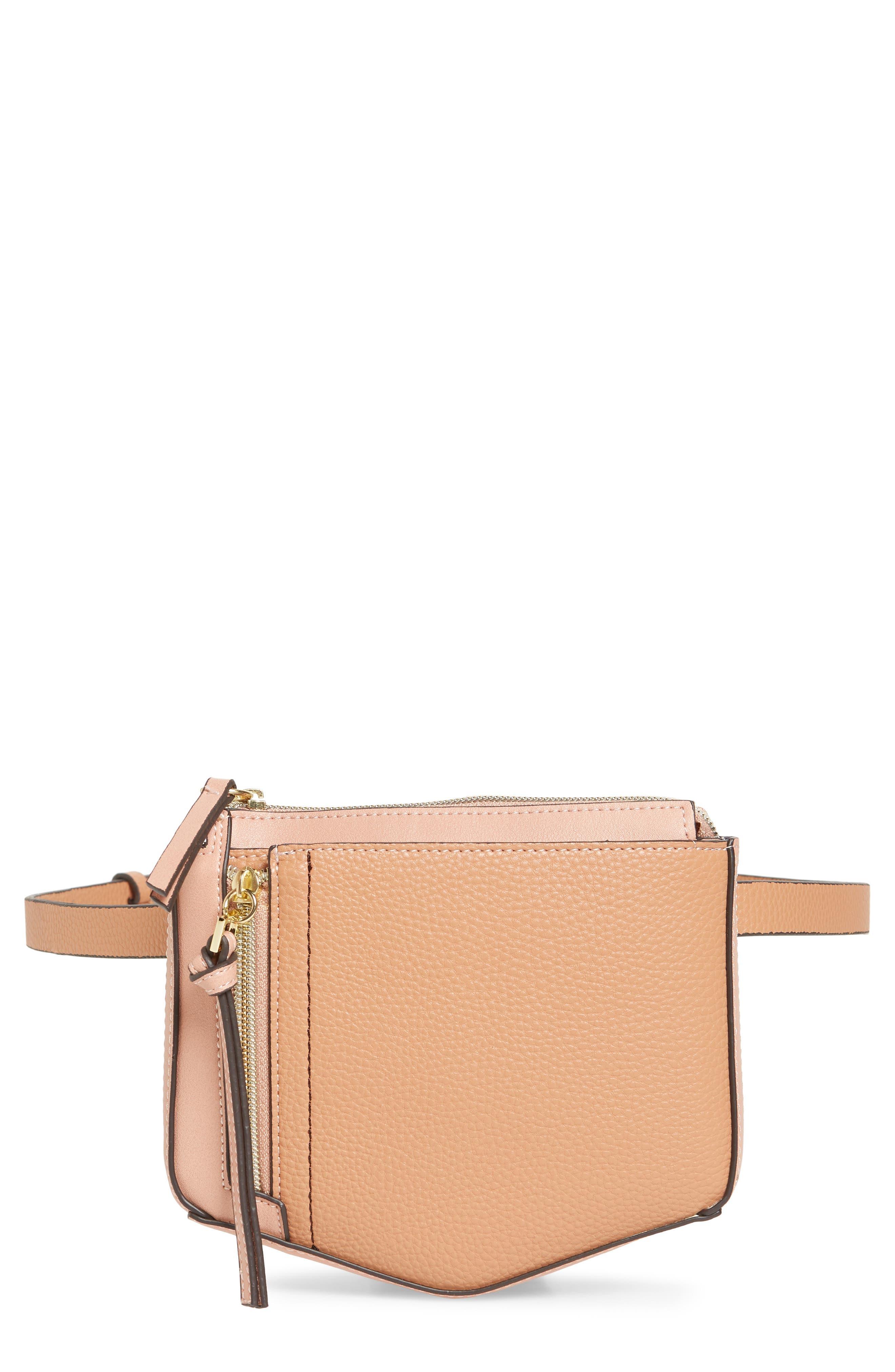Elia Faux Leather Belt Bag,                             Main thumbnail 1, color,                             TAN COMBO