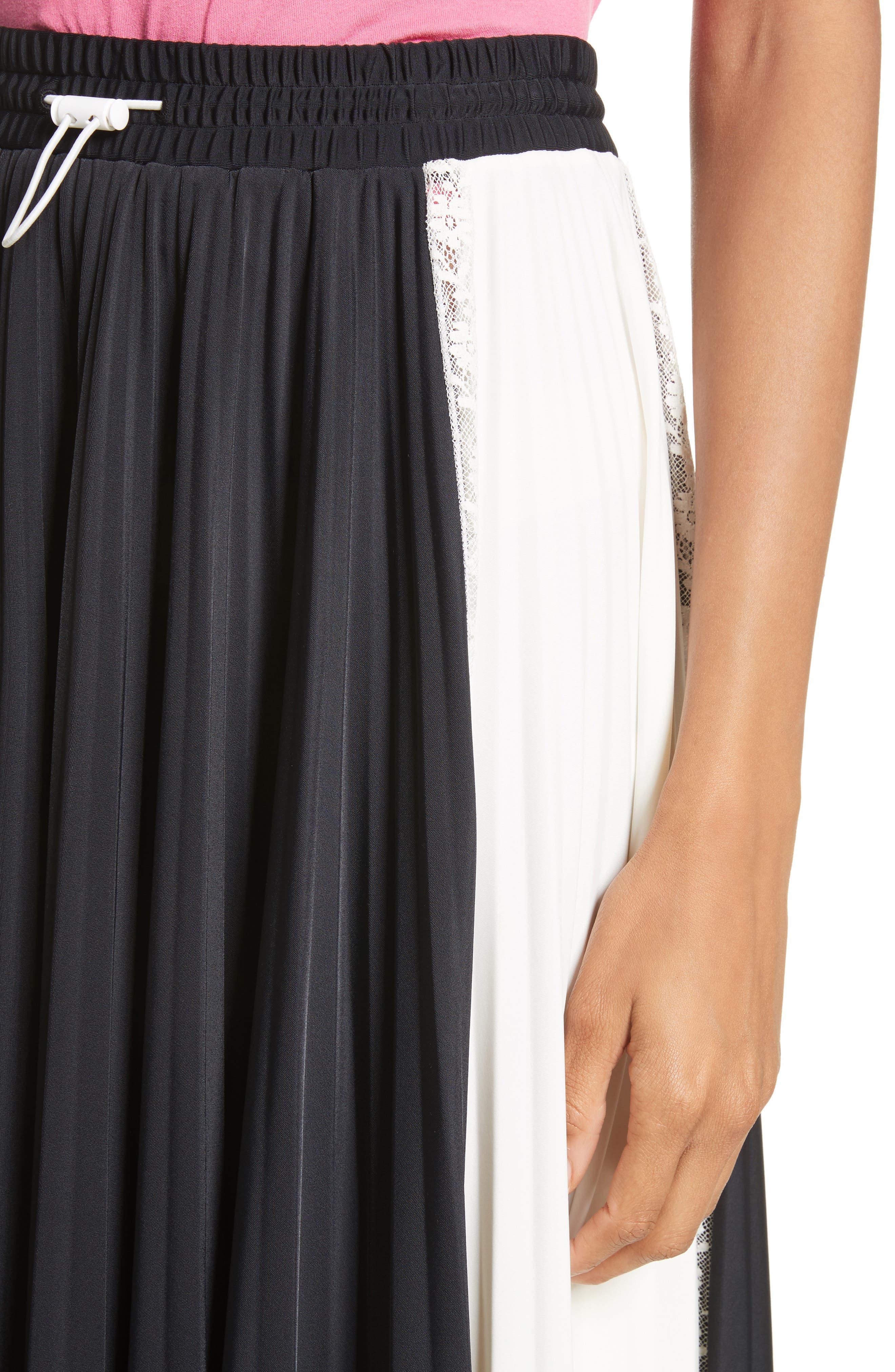 Bicolor Jersey & Lace Plissé Skirt,                             Alternate thumbnail 4, color,                             001