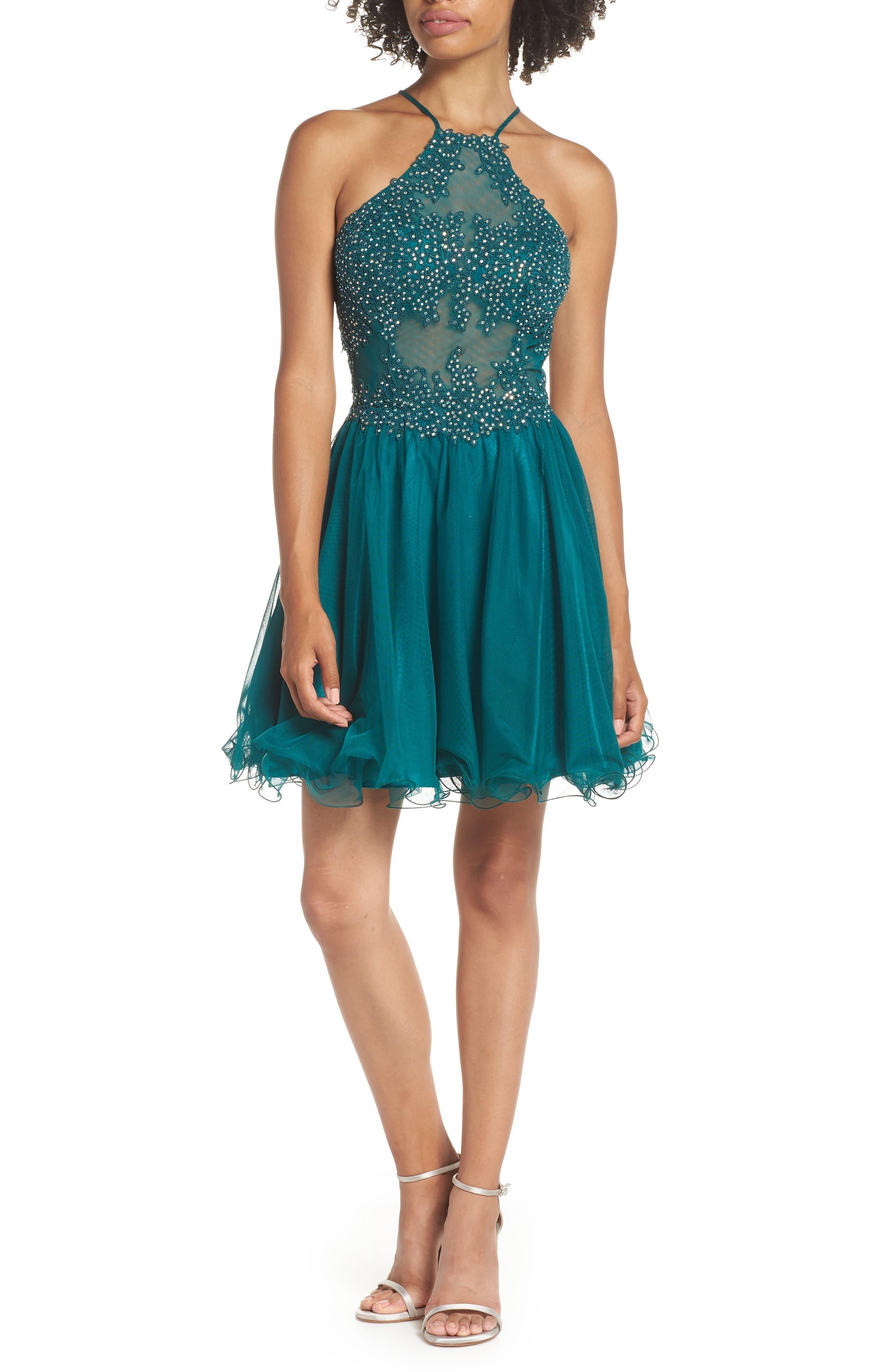 Blondie Nites Halter Neck Applique Mesh Party Dress, Green