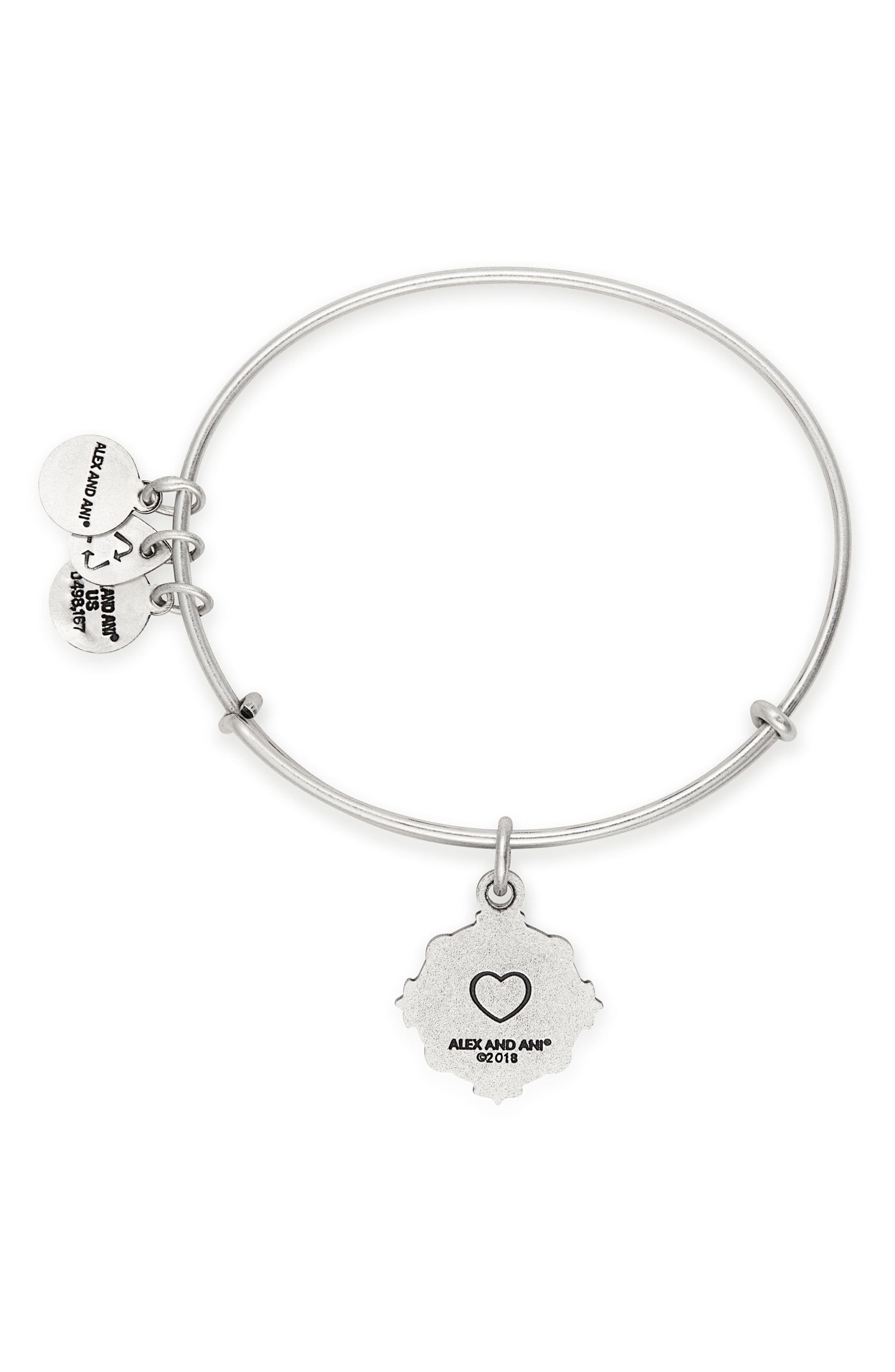 Because I Love You Sister Charm Bangle,                             Alternate thumbnail 2, color,                             SILVER