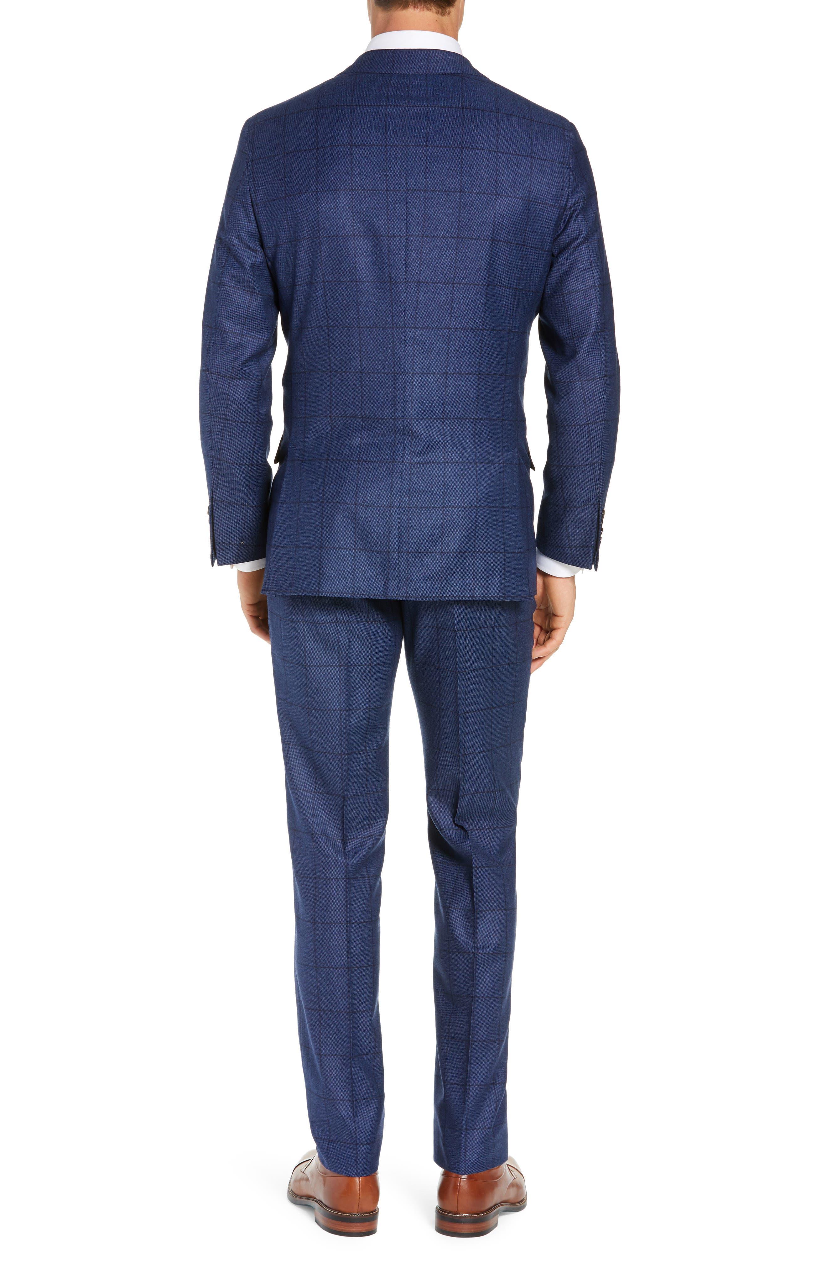 Classic Fit Windowpane Wool & Cashmere Suit,                             Alternate thumbnail 2, color,                             MEDIUM BLUE