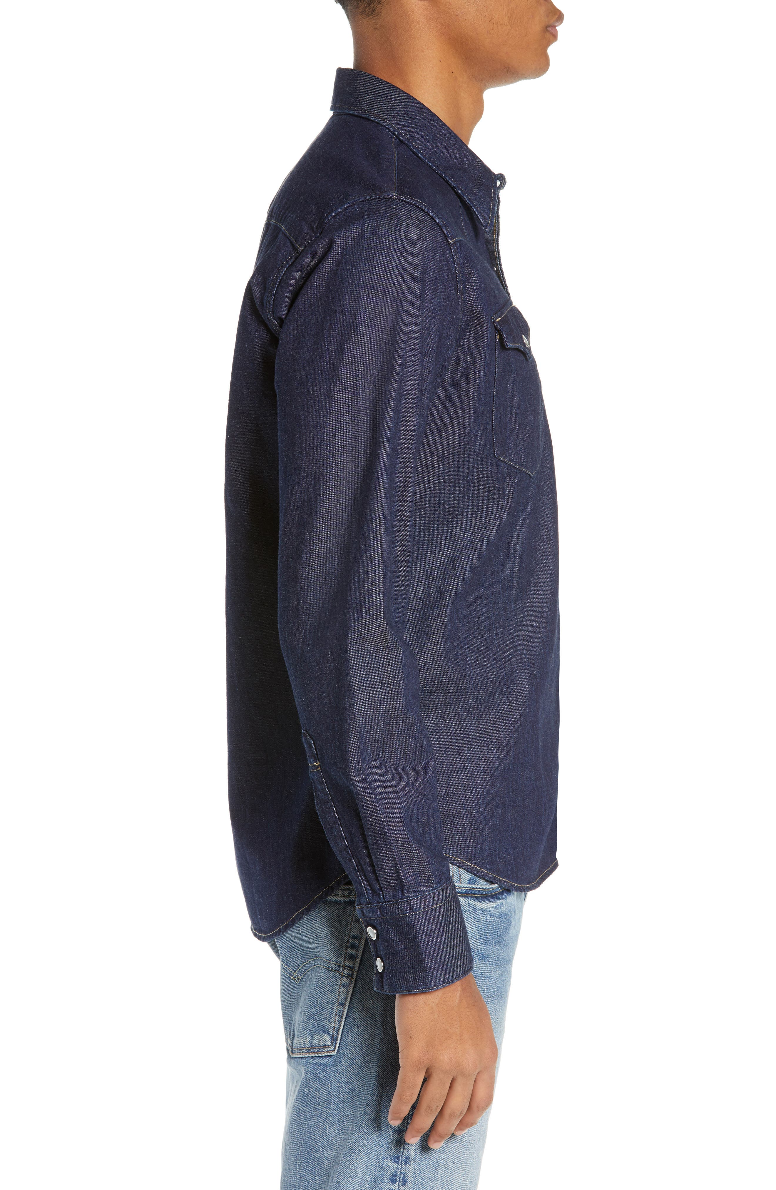 LEVI'S<SUP>®</SUP>,                             Barstow Denim Western Shirt,                             Alternate thumbnail 4, color,                             RED CAST RINSE
