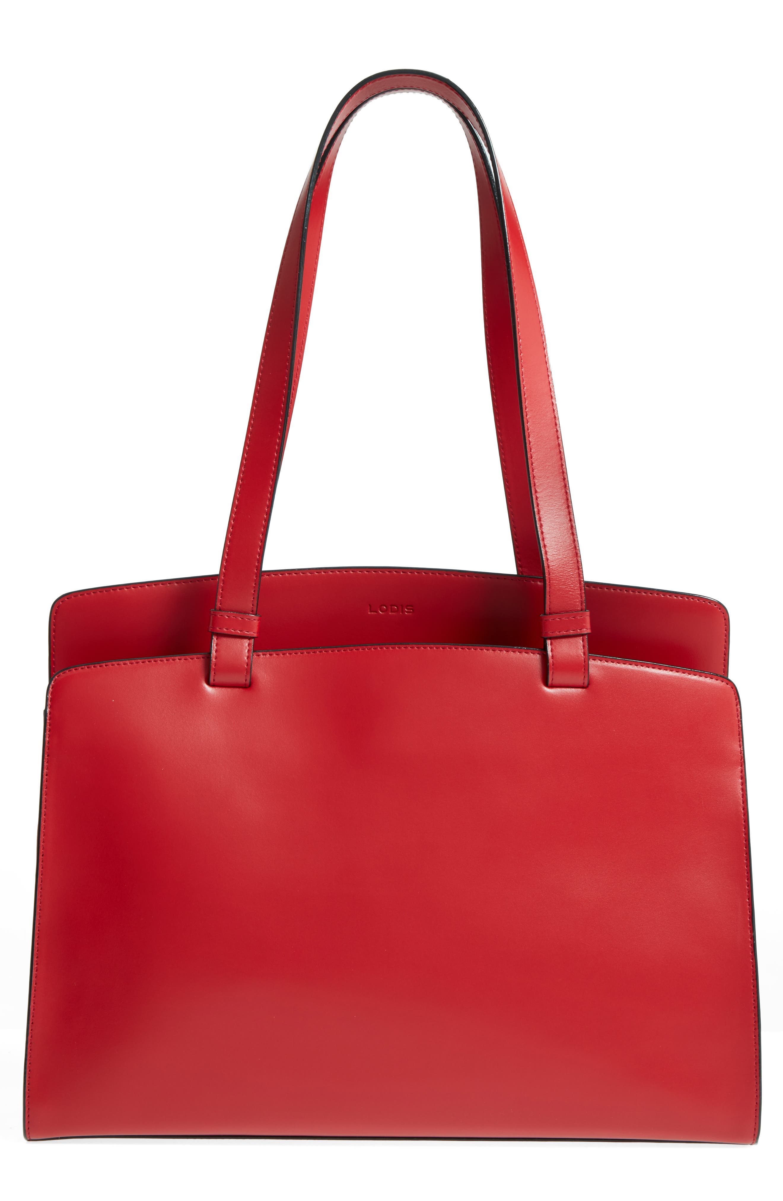 Audrey Under Lock & Key - Jana RFID Leather Tote,                             Main thumbnail 1, color,                             RED