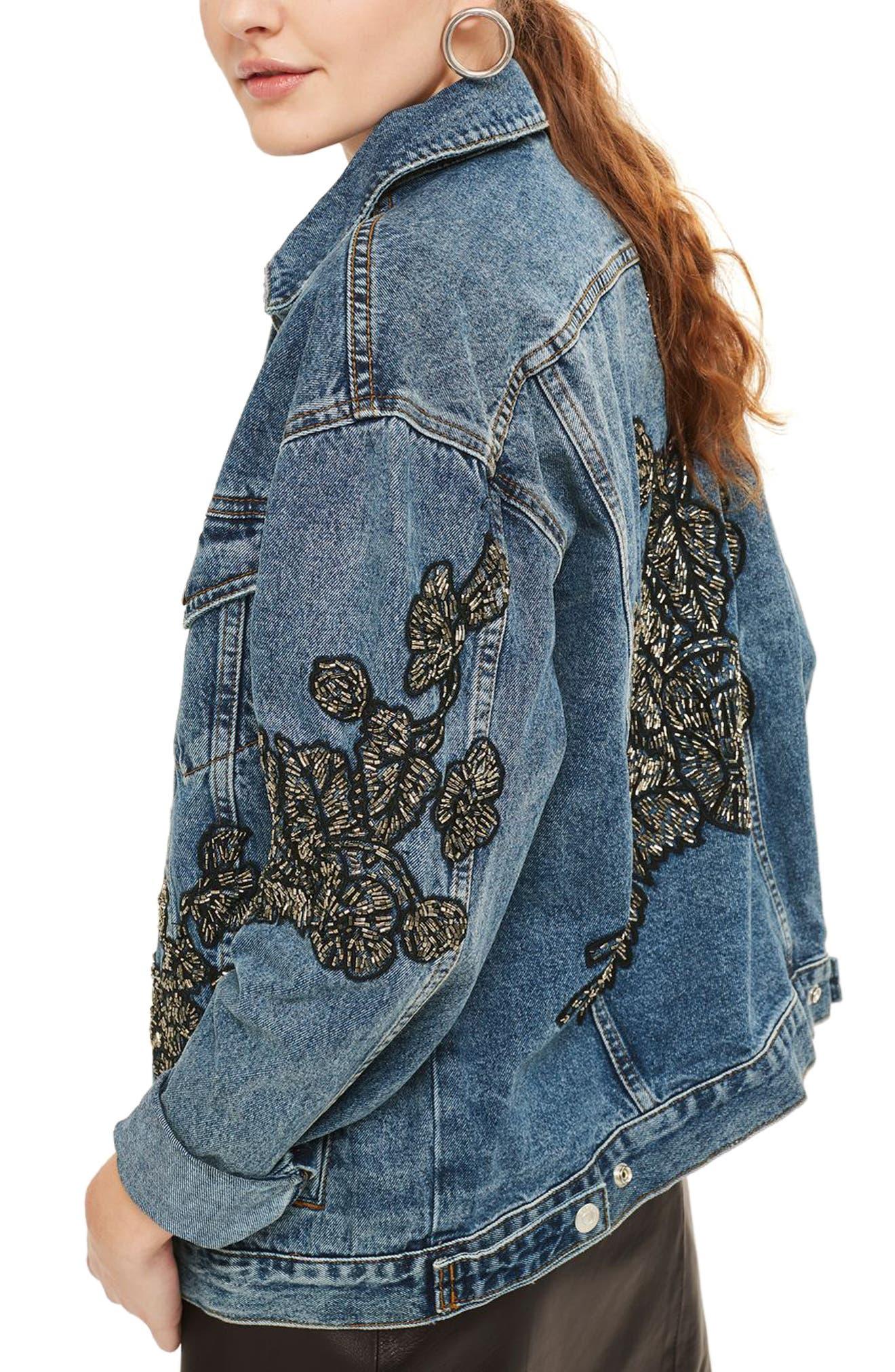 Embellished Denim Jacket,                             Alternate thumbnail 2, color,                             400
