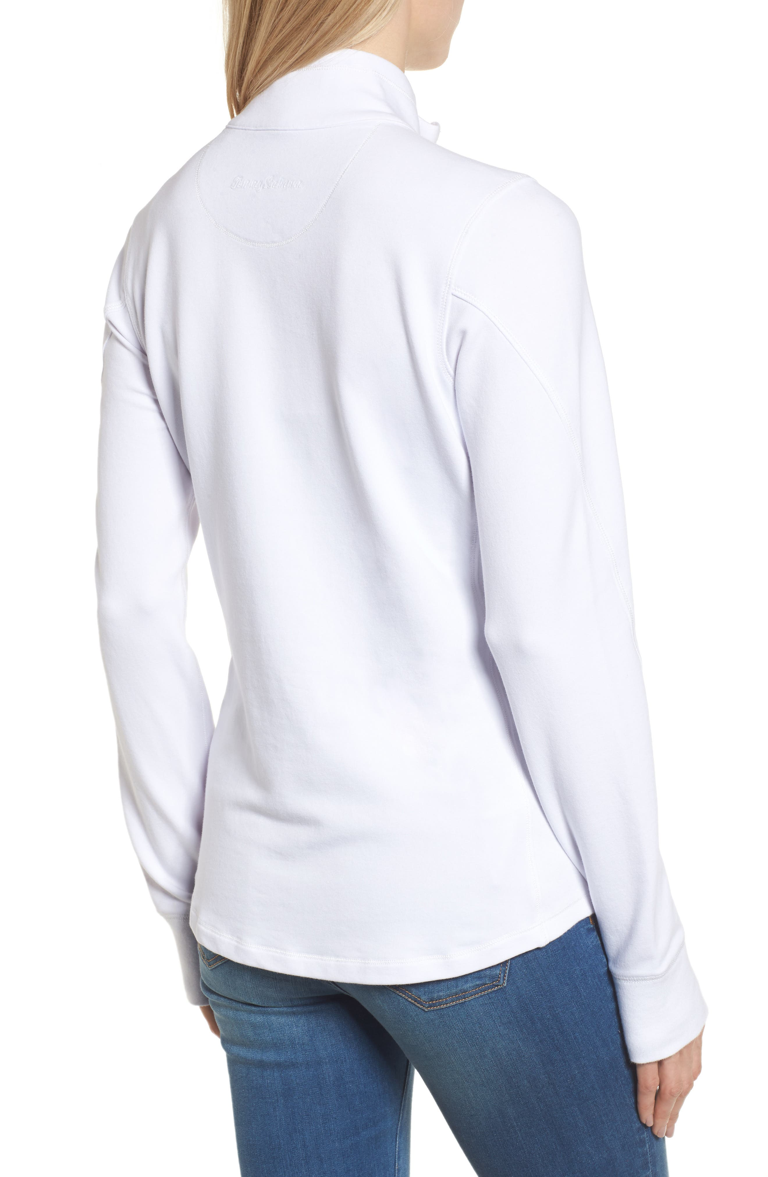 Jen and Terry Half Zip Top,                             Alternate thumbnail 2, color,                             WHITE