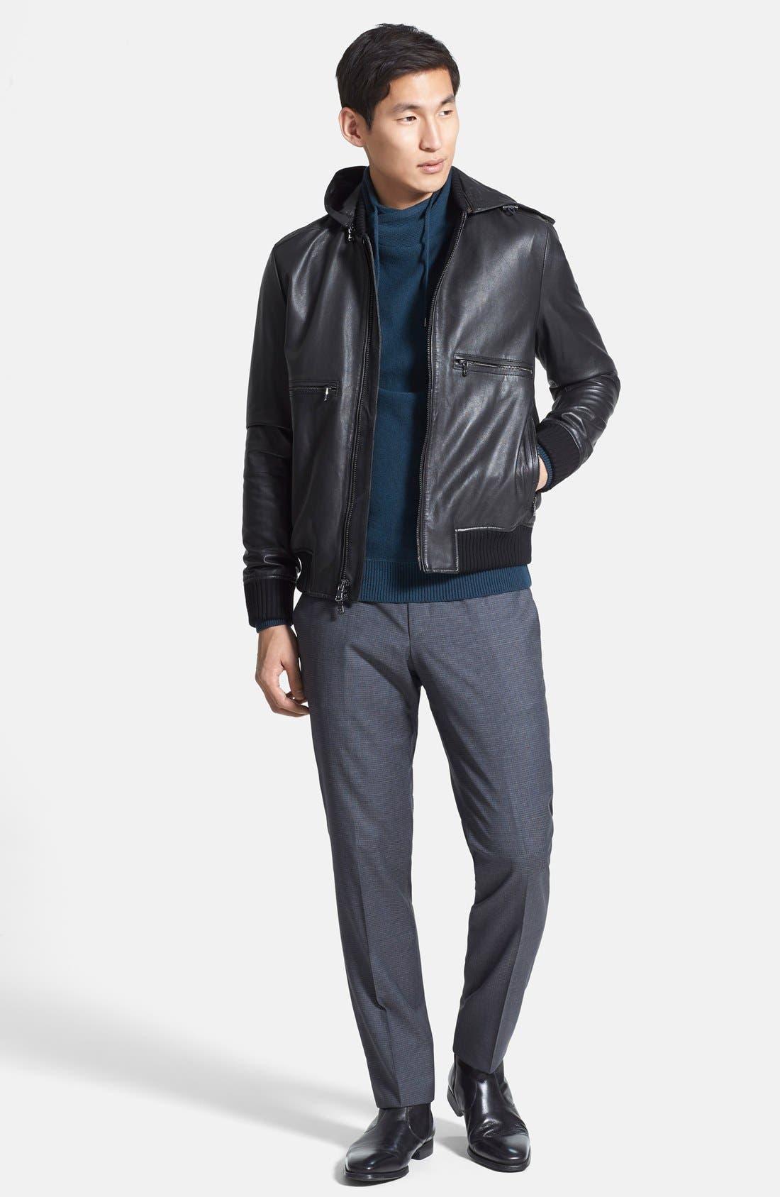 Hooded Leather Bomber Jacket,                             Alternate thumbnail 2, color,                             001