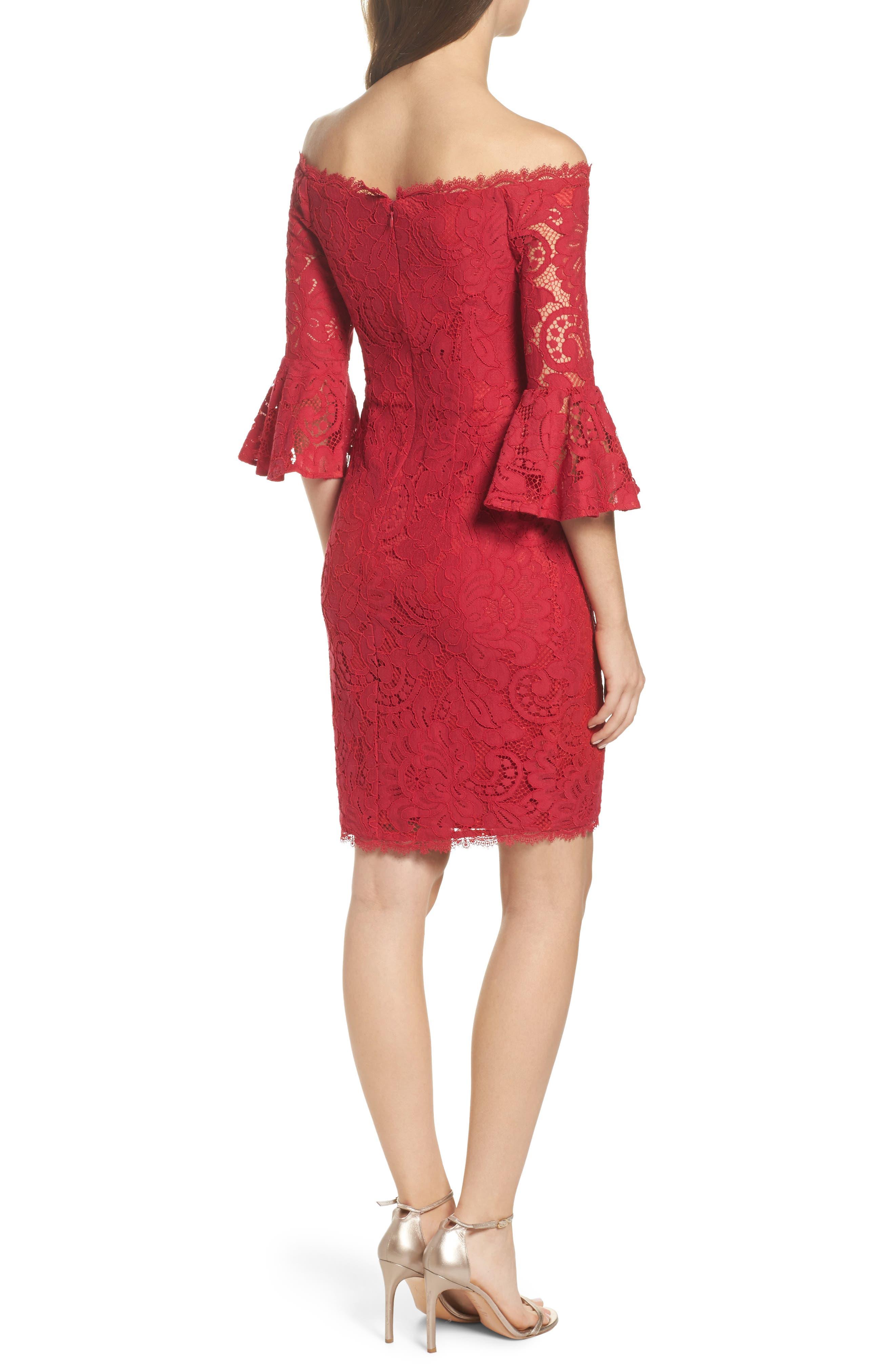 Off the Shoulder Lace Sheath Dress,                             Alternate thumbnail 3, color,