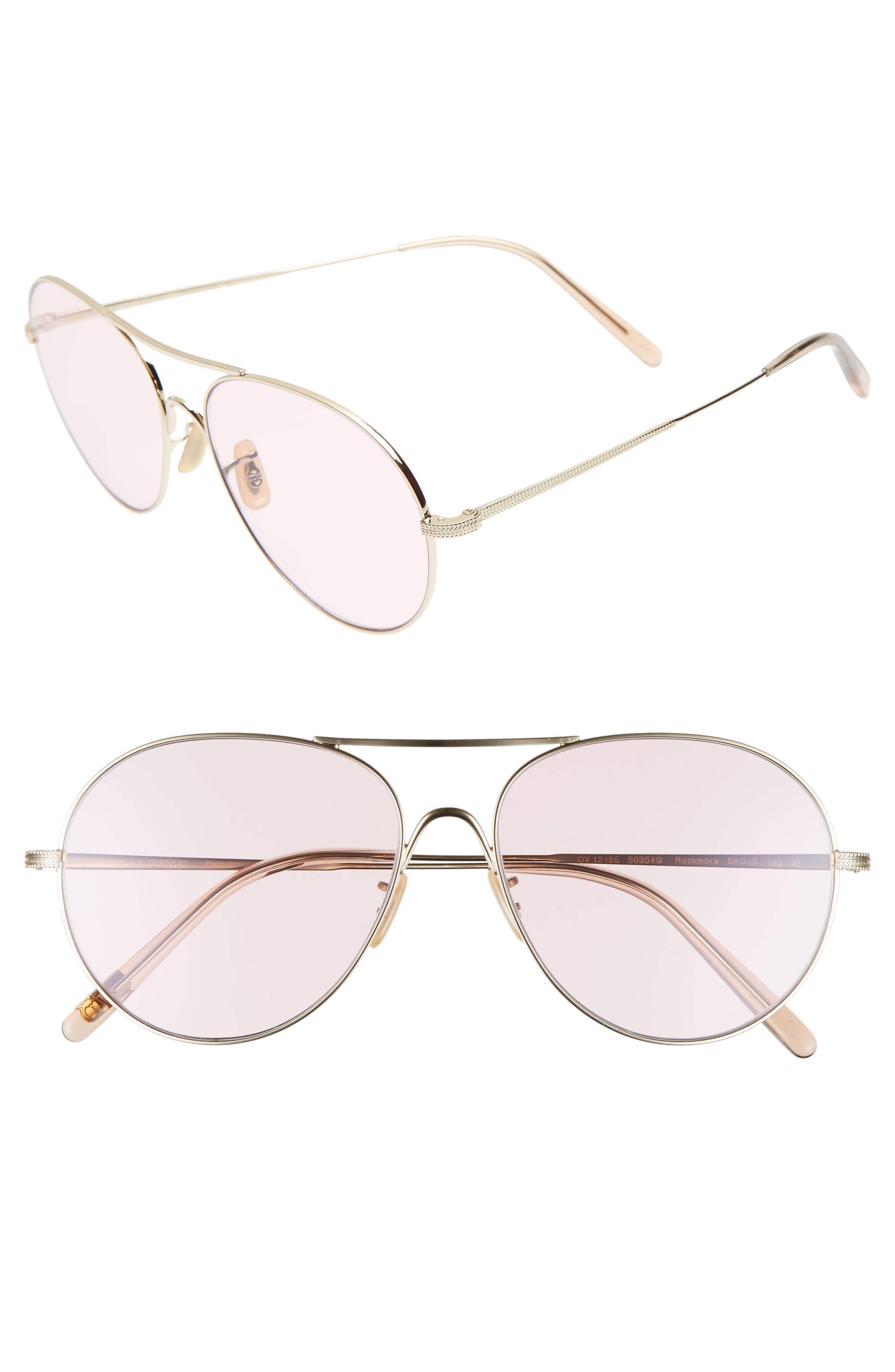 Rockmore 58mm Aviator Sunglasses,                         Main,                         color, PINK