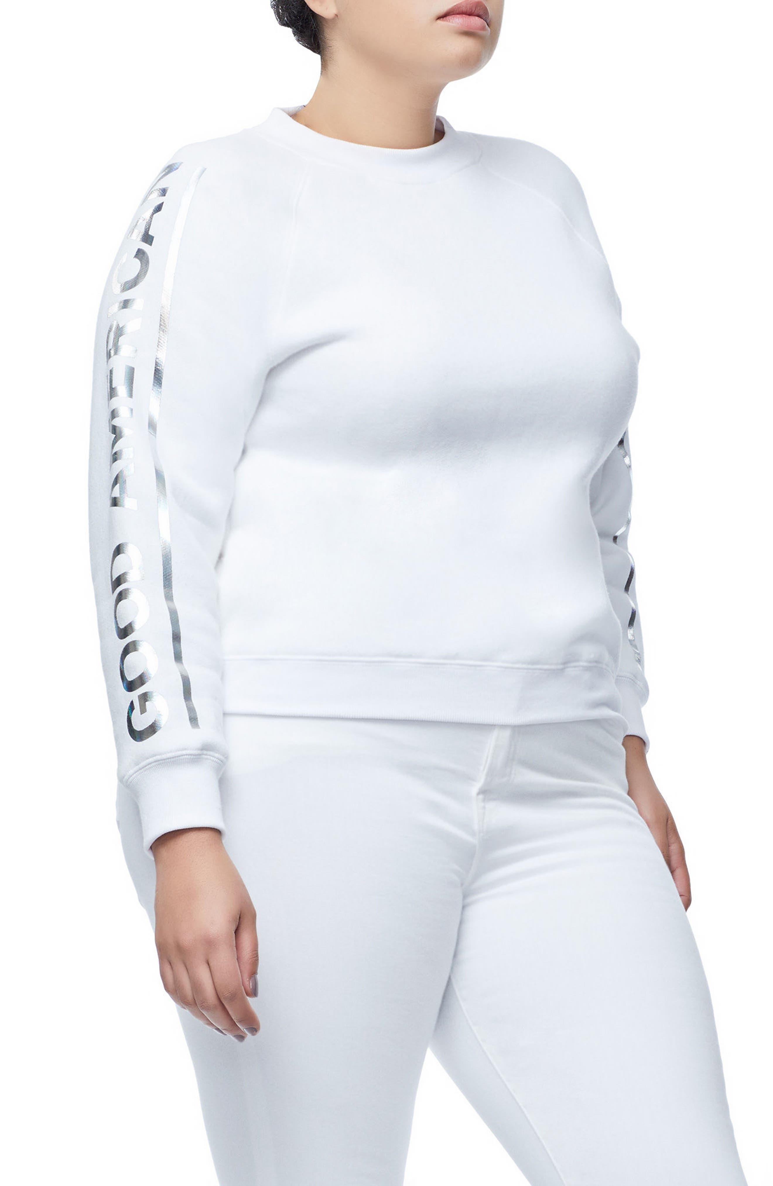 Crewneck Sweatshirt,                             Alternate thumbnail 8, color,                             WHITE