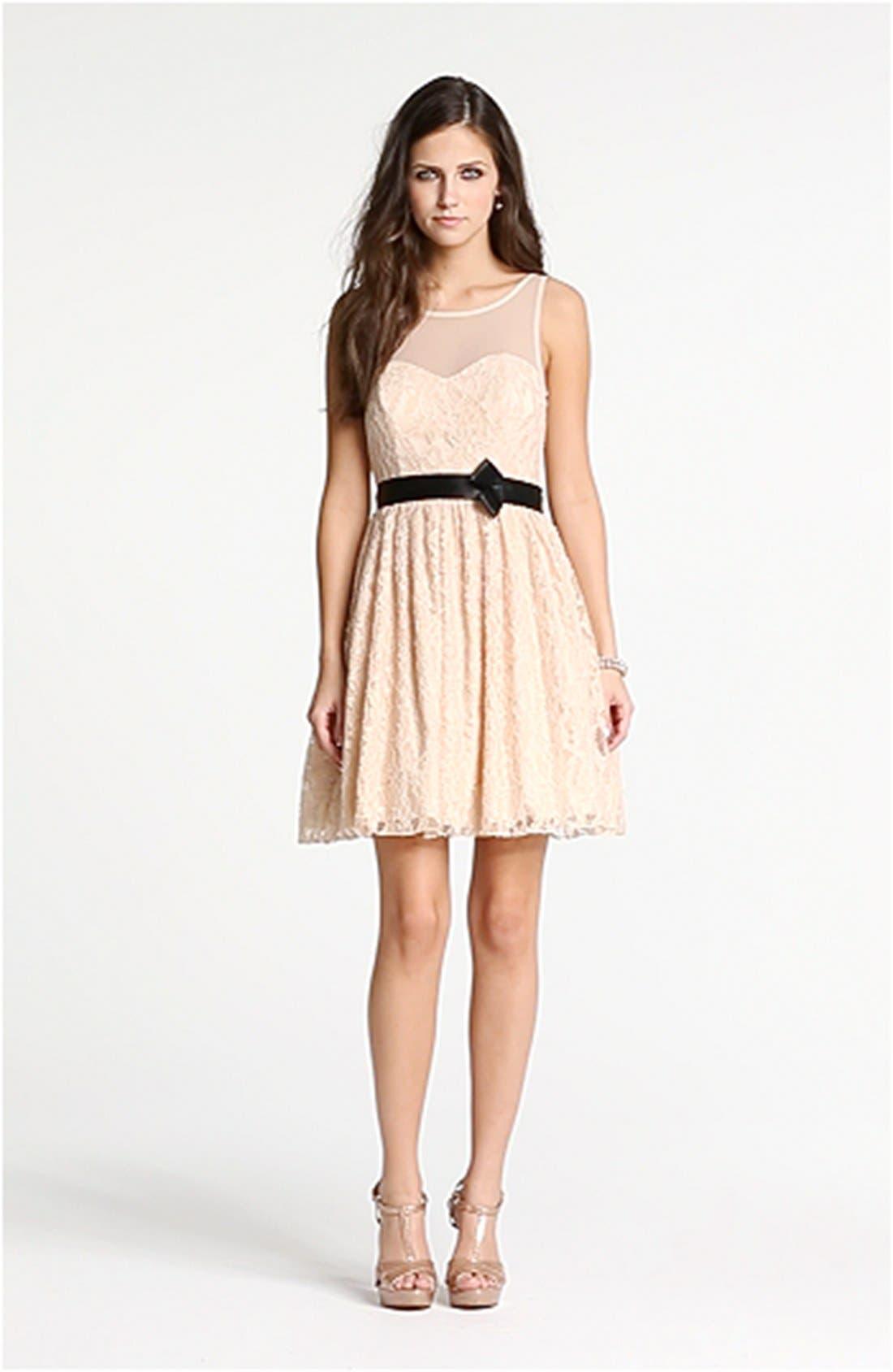 Illusion Lace Fit & Flare Dress,                             Alternate thumbnail 4, color,