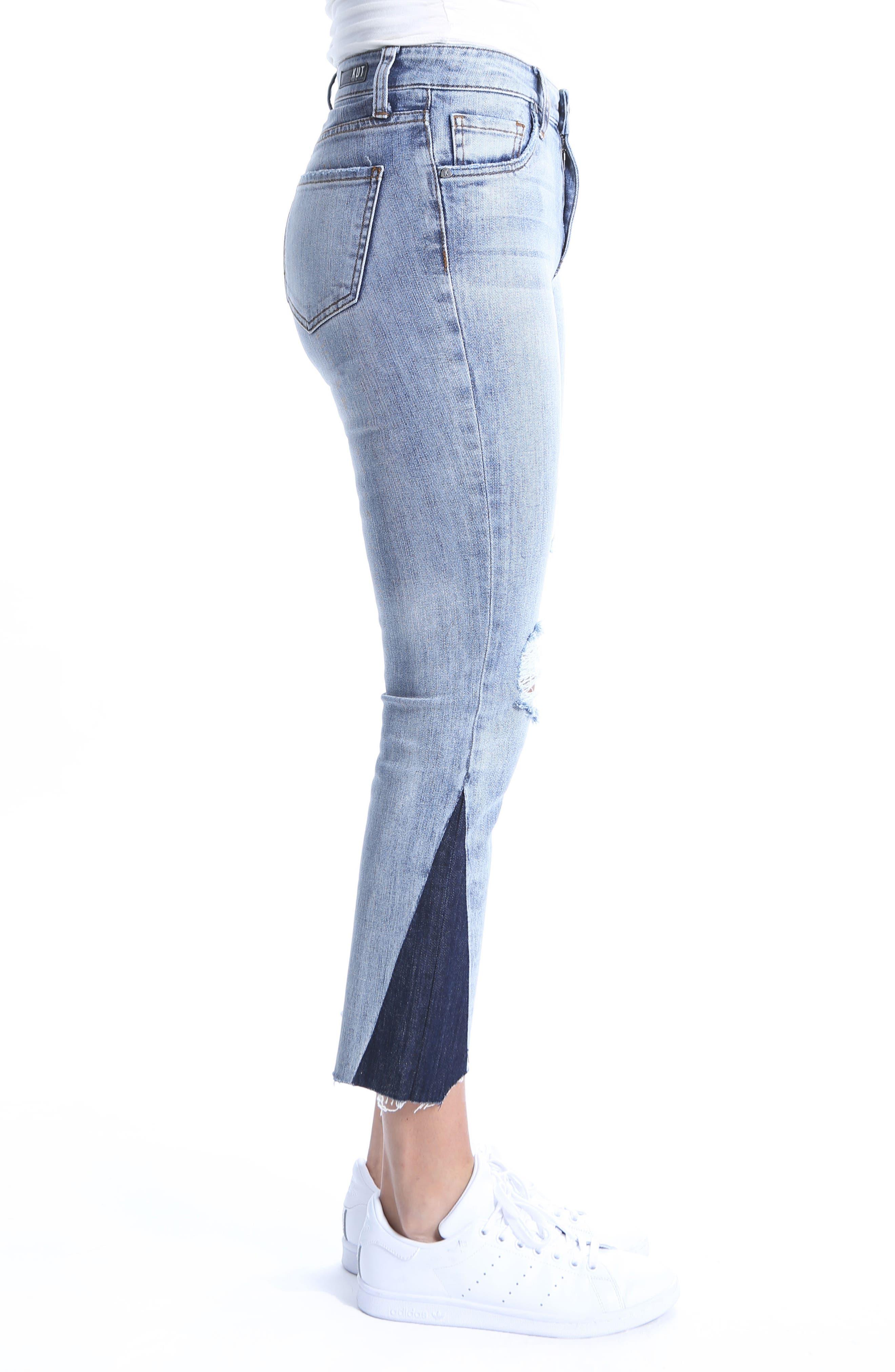 Reese Dark Flare Inset Straight Leg Ankle Jeans,                             Alternate thumbnail 3, color,                             400