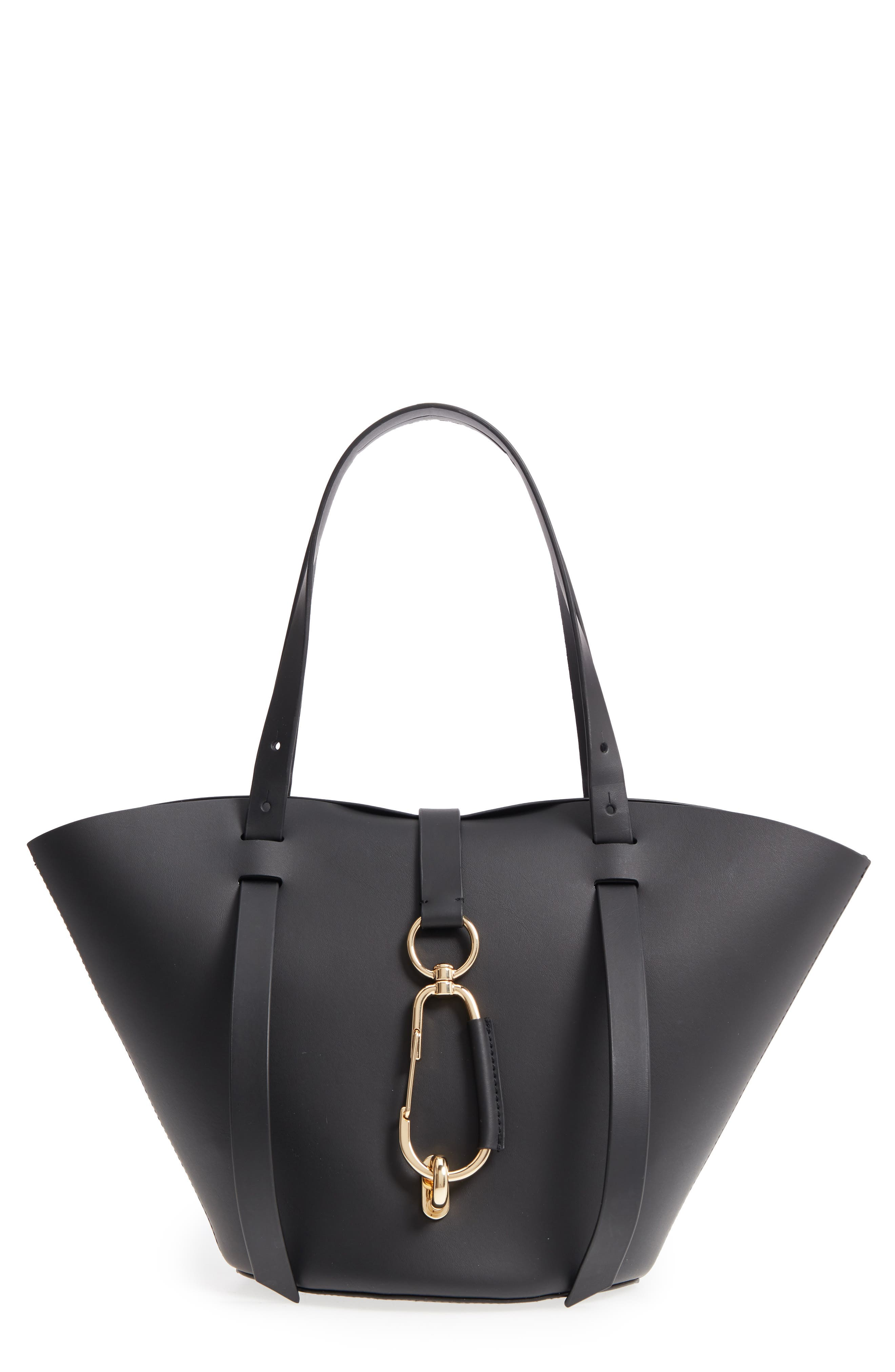 Small Belay Leather Tote,                         Main,                         color, BLACK
