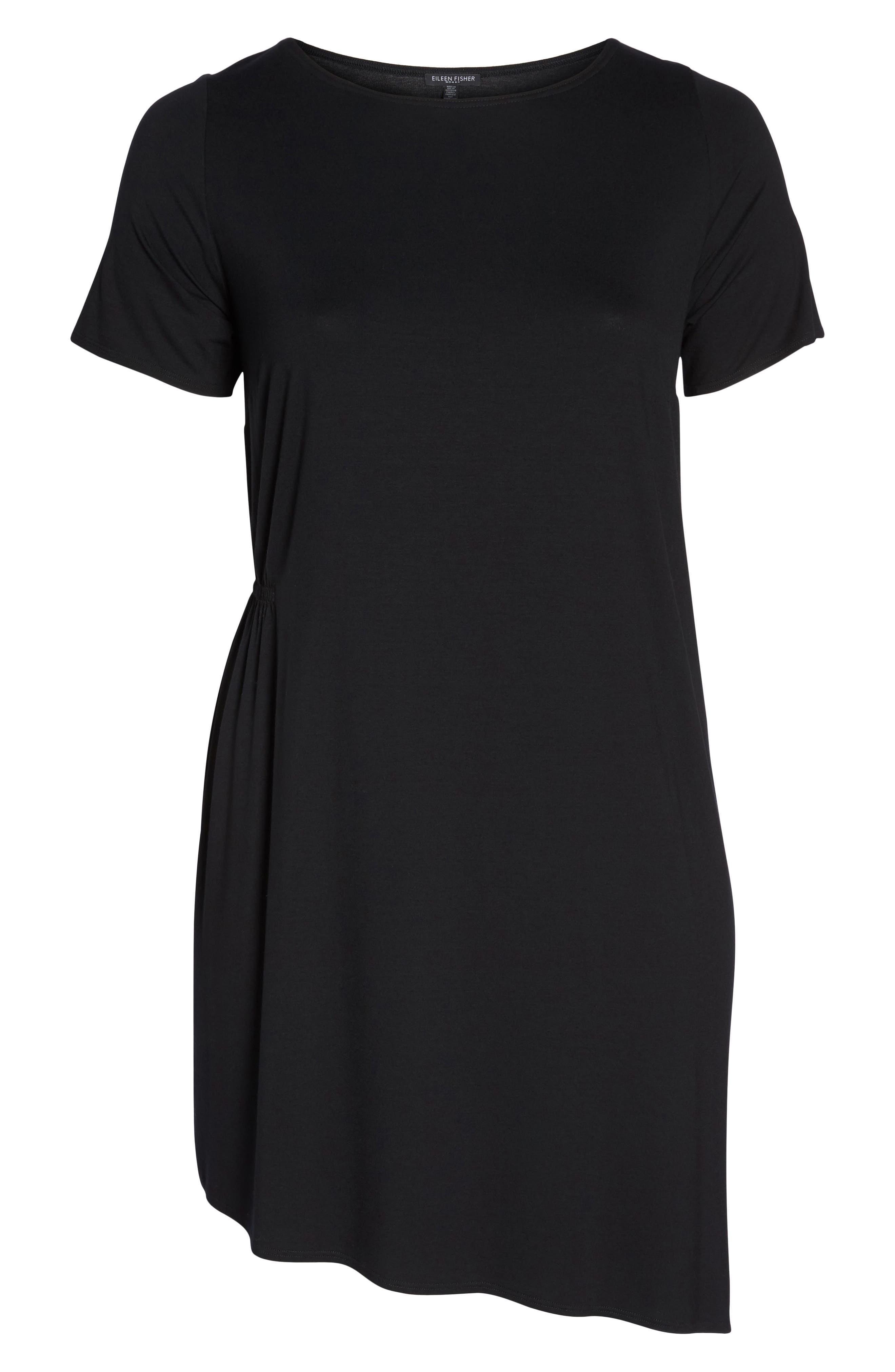 Asymmetrical Stretch Jersey Shift Dress,                             Alternate thumbnail 7, color,                             001