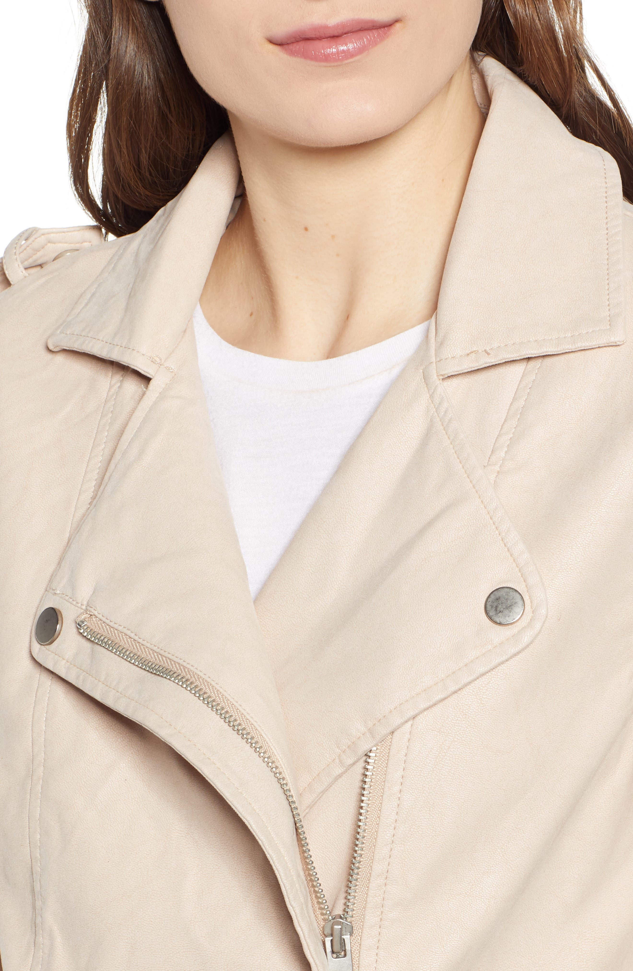 THREAD & SUPPLY,                             Mitch Faux Leather Moto Jacket,                             Alternate thumbnail 5, color,                             BLUSHING PINK
