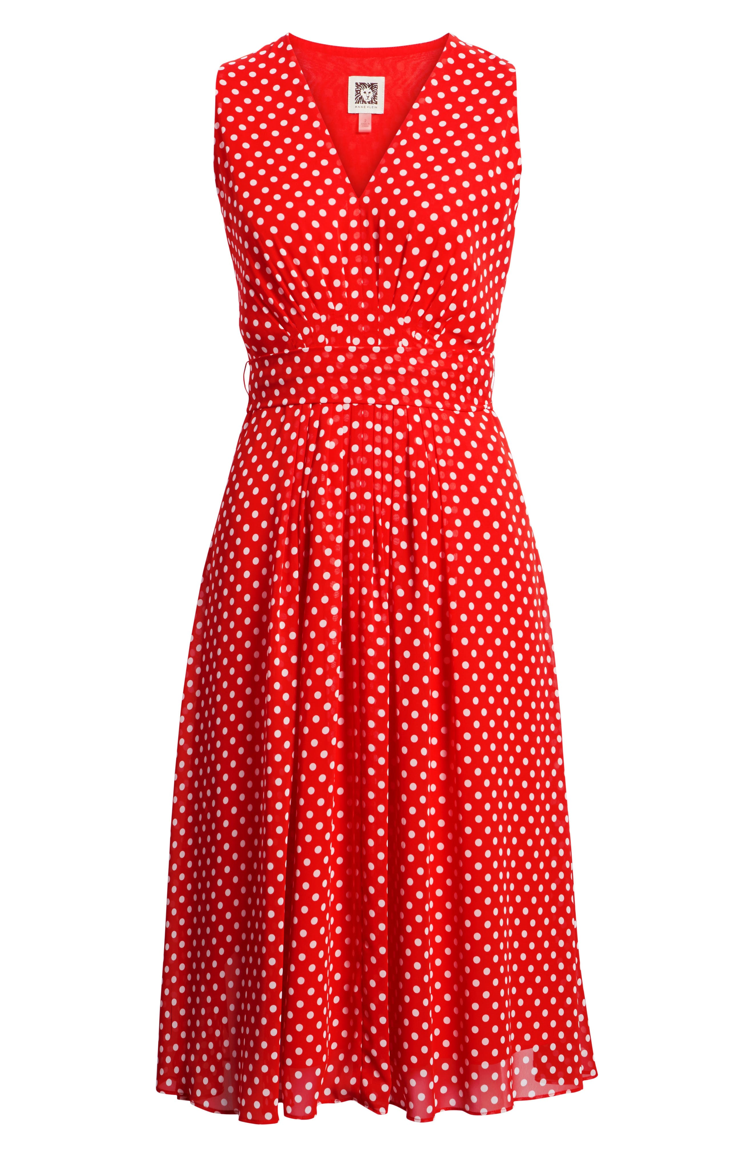 Polka Dot A-Line Dress,                             Alternate thumbnail 8, color,                             600