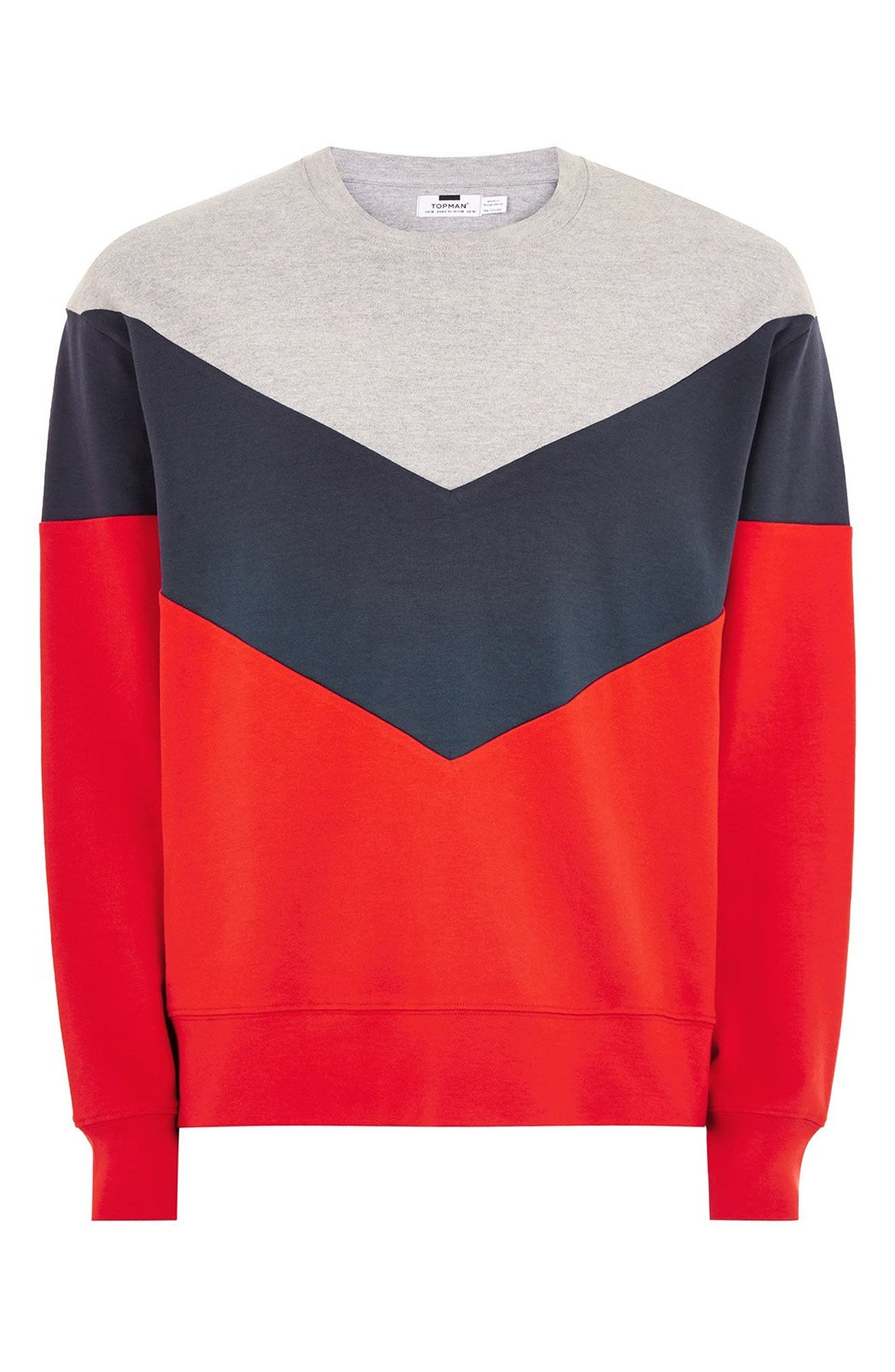 Chevron Colorblock Sweatshirt,                             Alternate thumbnail 4, color,                             RED MULTI
